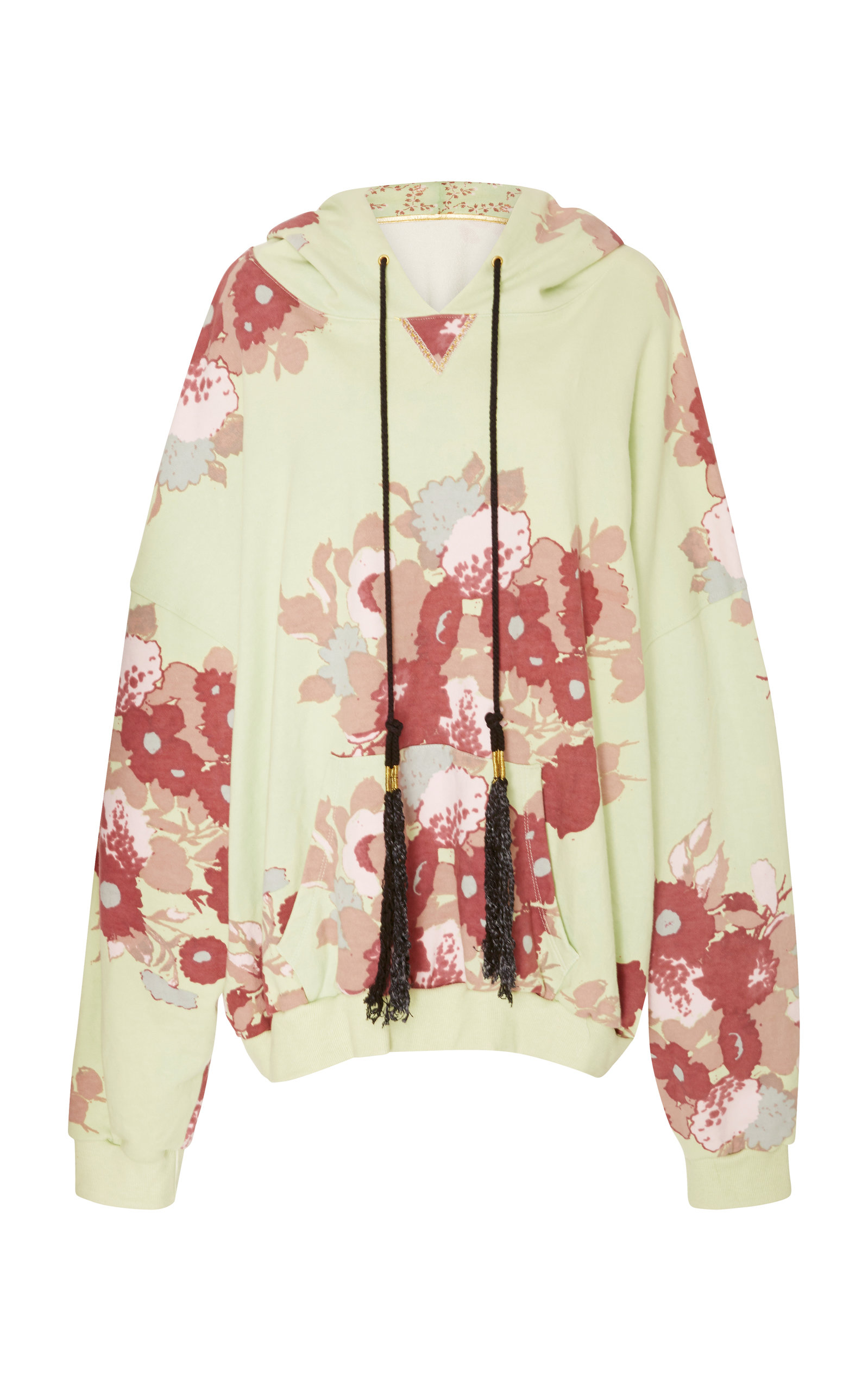 Oversized Floral-Print Terry Hooded Sweatshirt