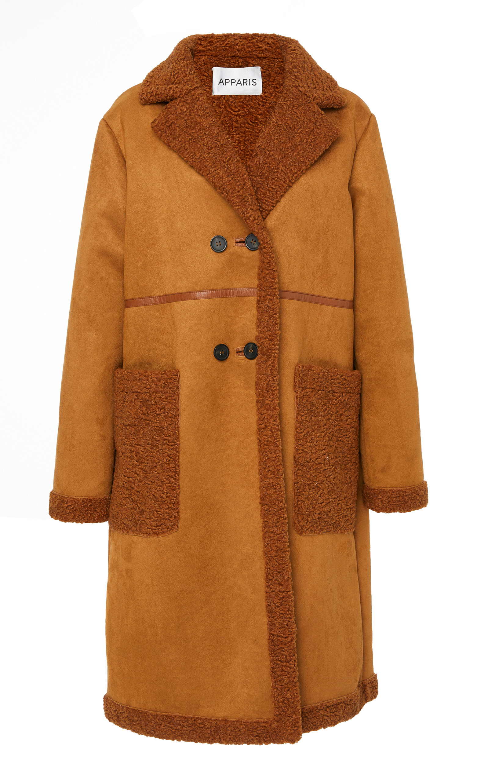 APPARIS Clothilde Faux Shearling Car Coat in Chestnut