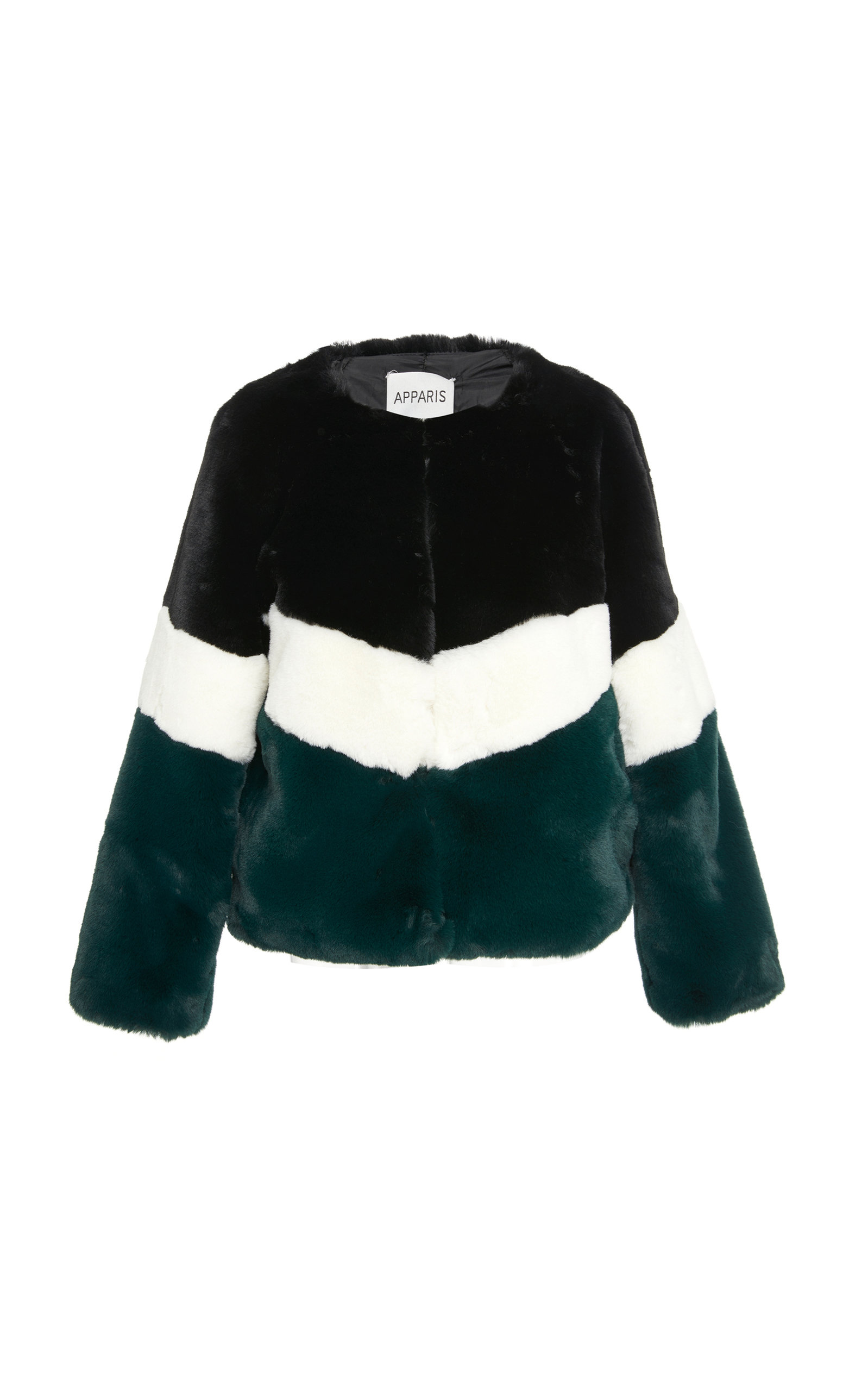 APPARIS Brigitte Color-Blocked Faux Fur Jacket in Multicolor