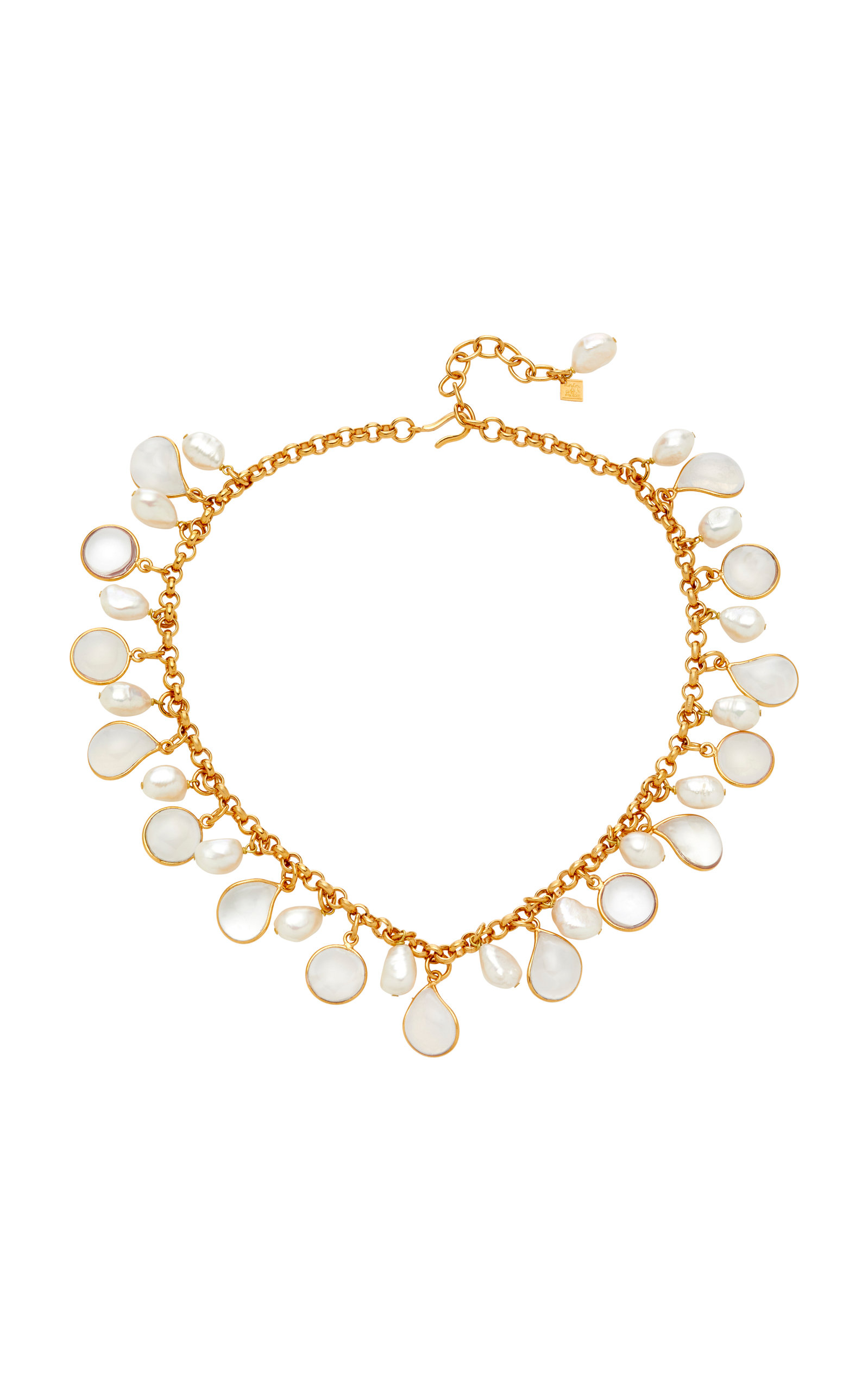 LOULOU DE LA FALAISE 24K GOLD-PLATED STONE AND PEARL NECKLACE