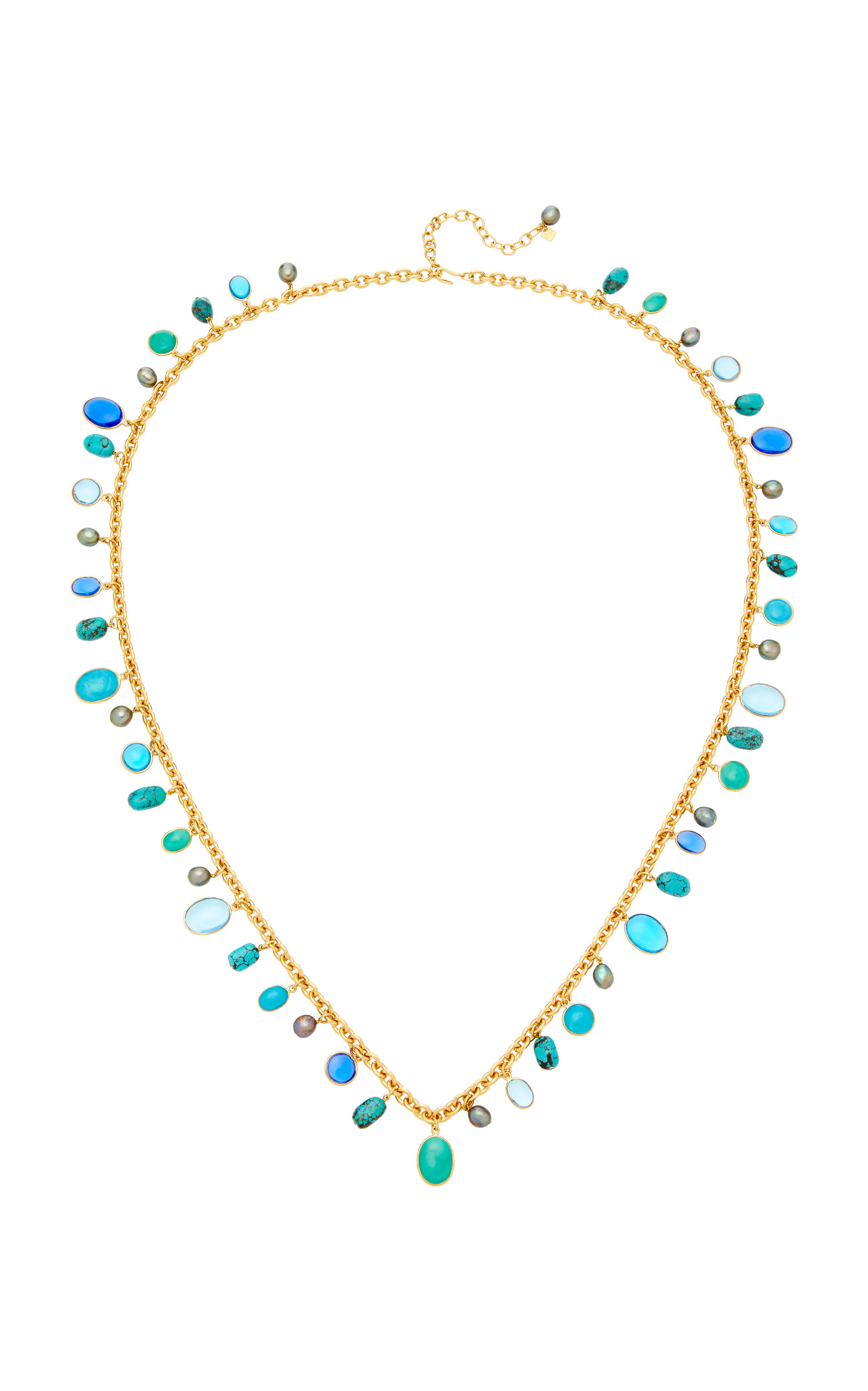 LOULOU DE LA FALAISE 24K GOLD-PLATED STONE AND TURQUOISE NECKLACE