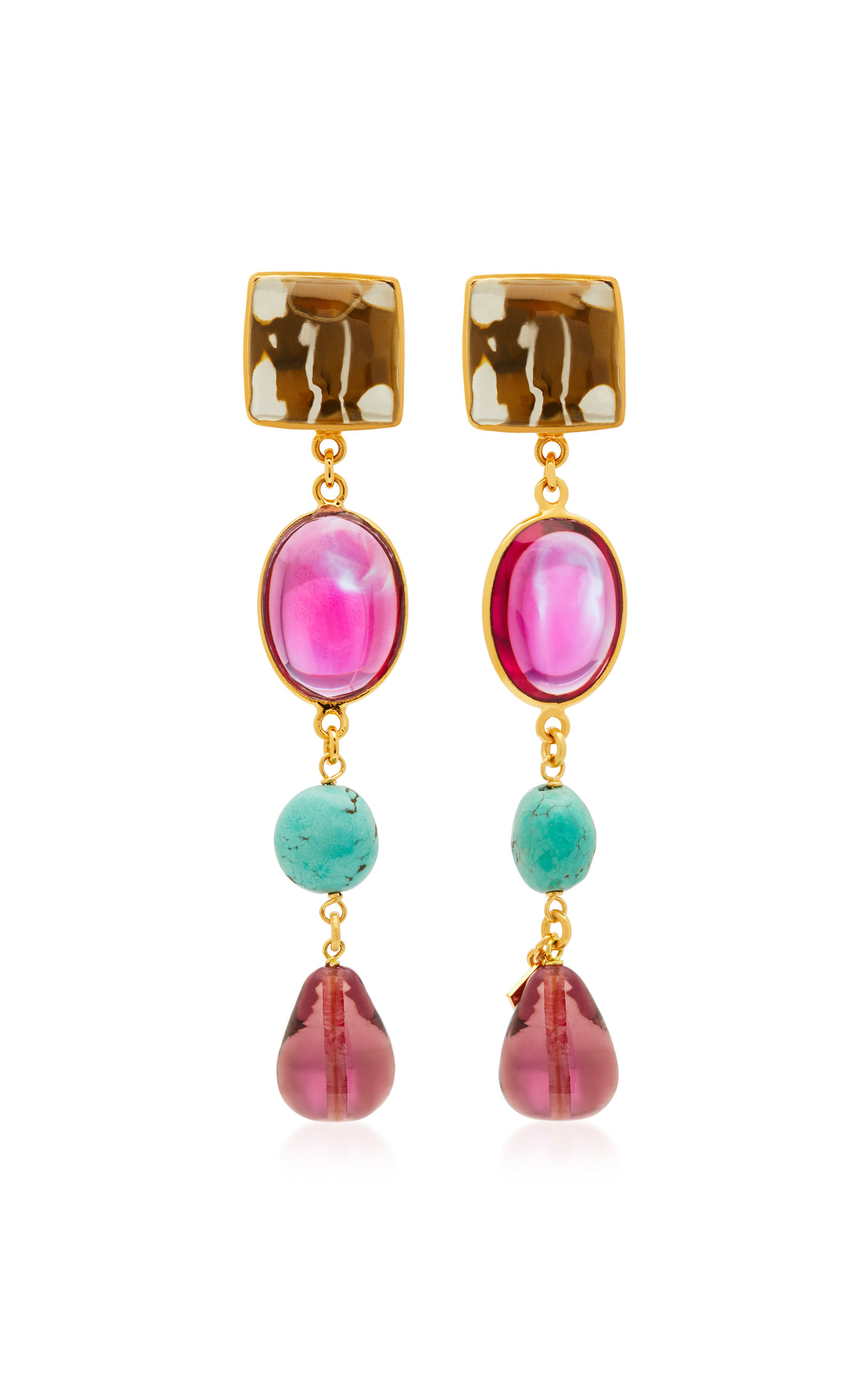 LOULOU DE LA FALAISE 24K GOLD-PLATED STONE AND TURQUOISE