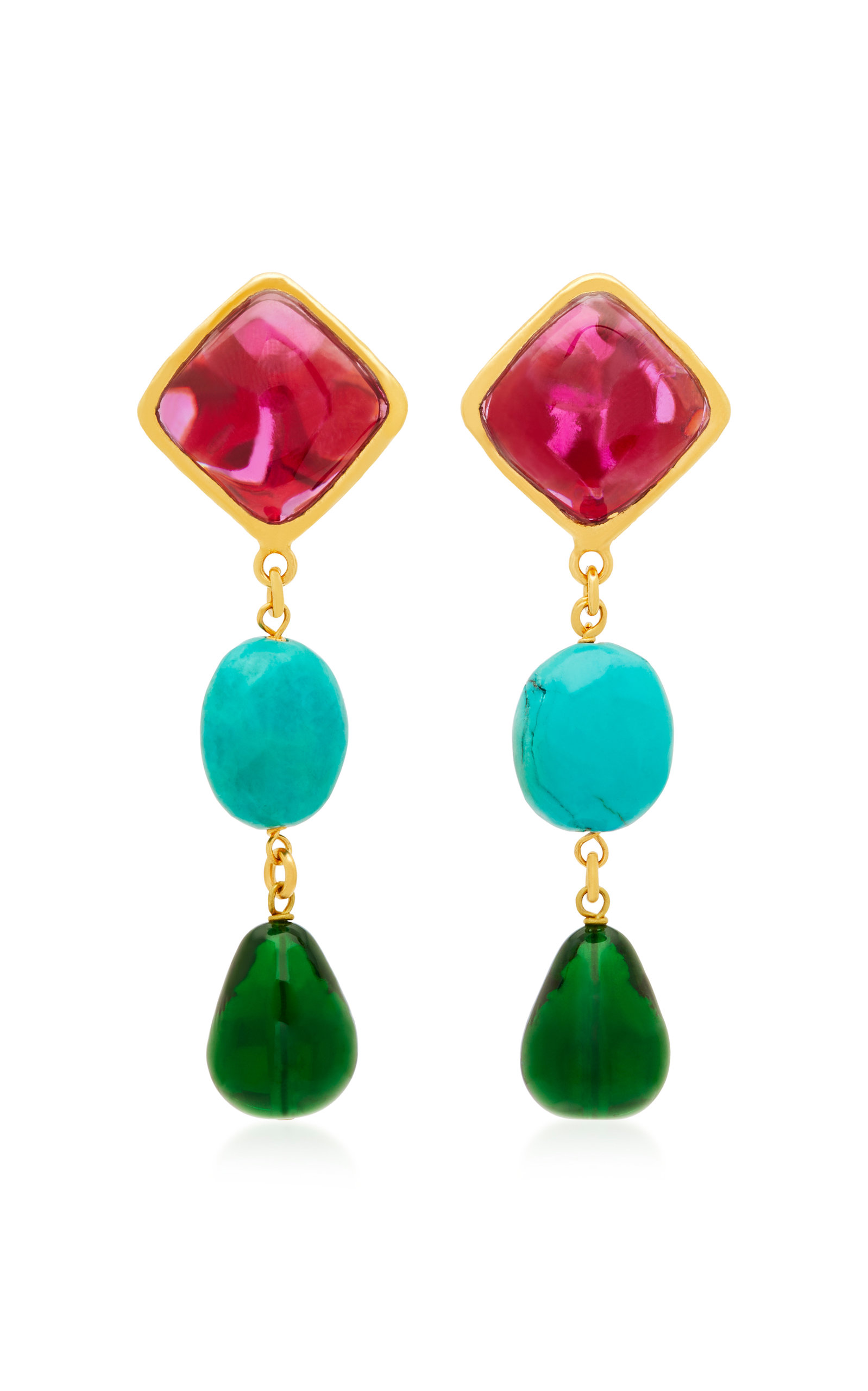 LOULOU DE LA FALAISE 24K GOLD-PLATED STONE AND TURQUOISE CLIP EARRINGS