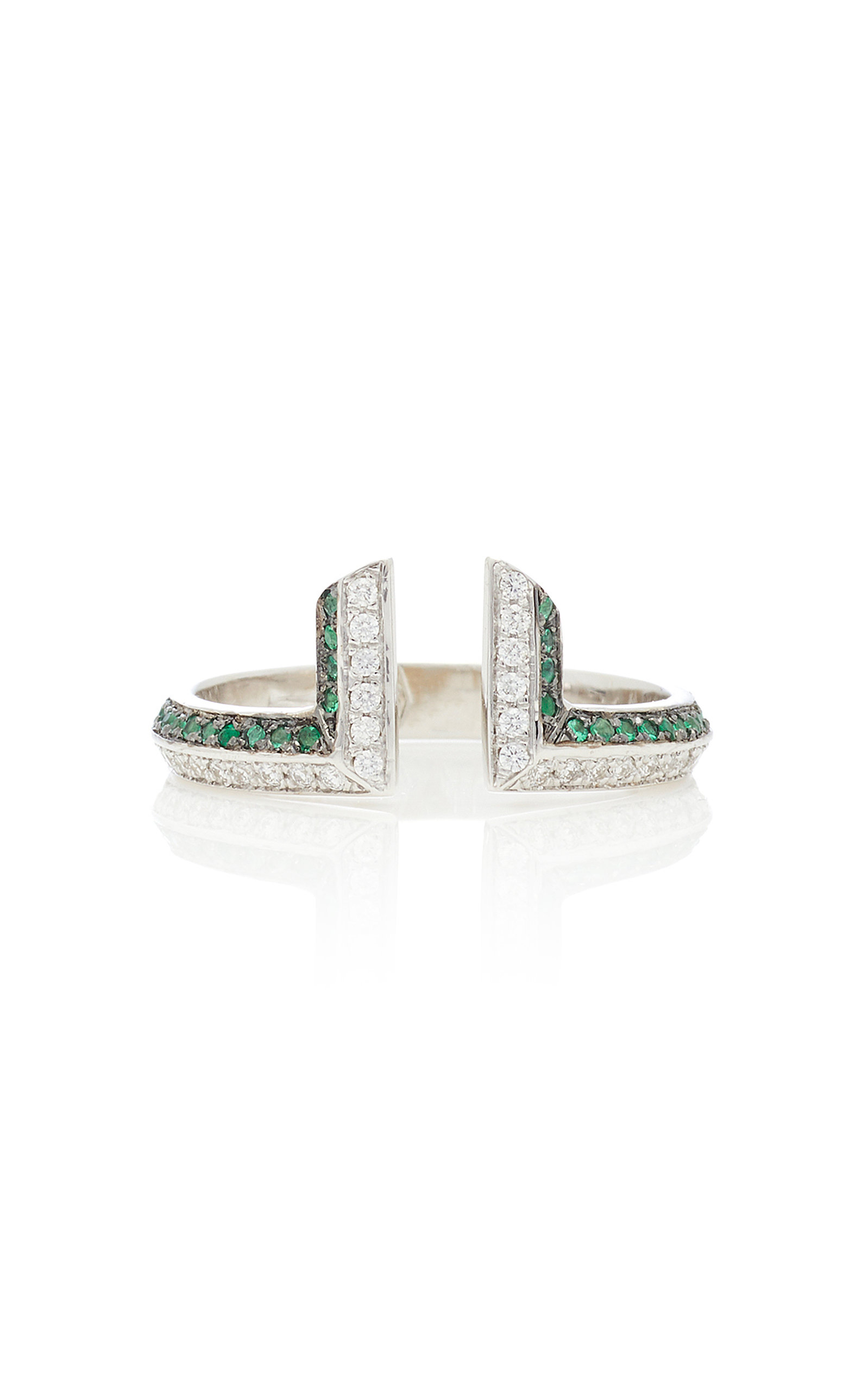 RALPH MASRI 18Kt White Gold Damond And Emerald Ring in Green