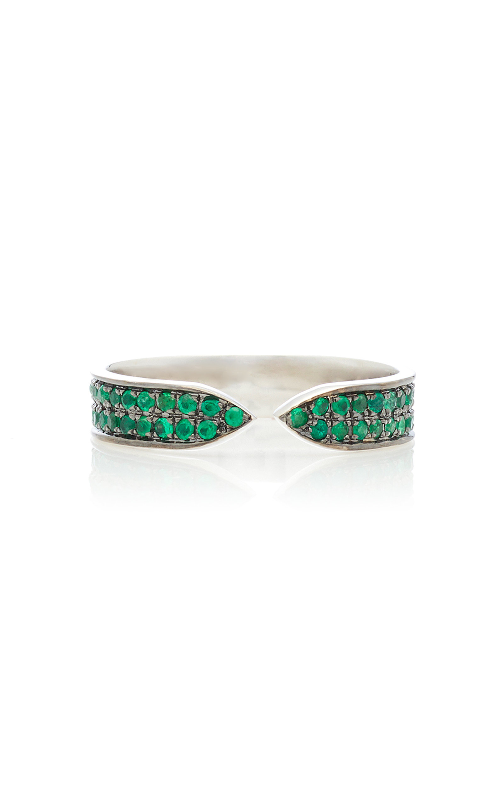 RALPH MASRI 18Kt White Gold And Emerald Ring in Green