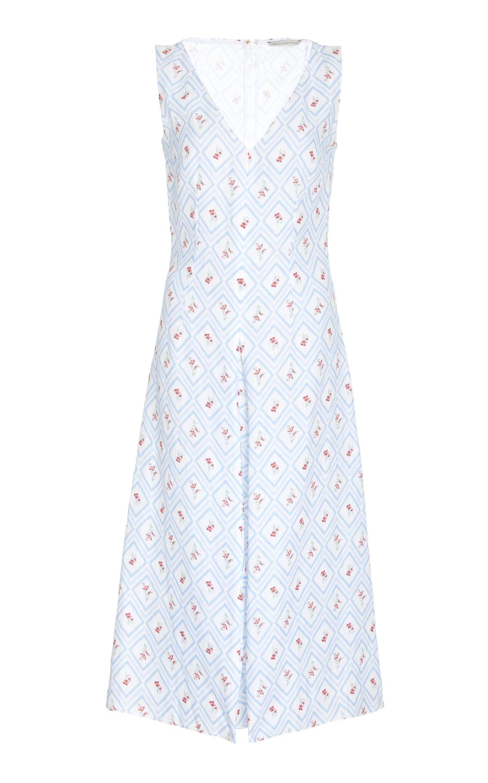 EMILIA WICKSTEAD M'O EXCLUSIVE PRINTED V-NECK DELLA DRESS