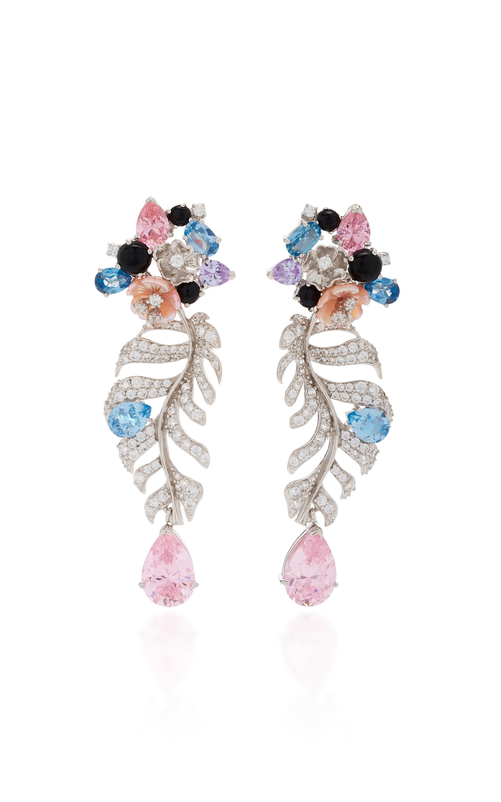 ANABELA CHAN M'O Exclusive Rose Quartz Palm Earrings in Silver