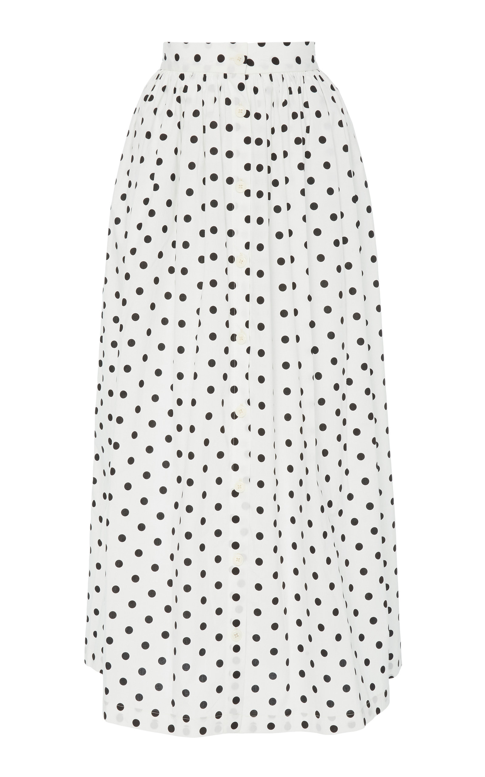 MDS STRIPES M'O EXCLUSIVE BUTTON-FRONT COTTON MIDI SKIRT