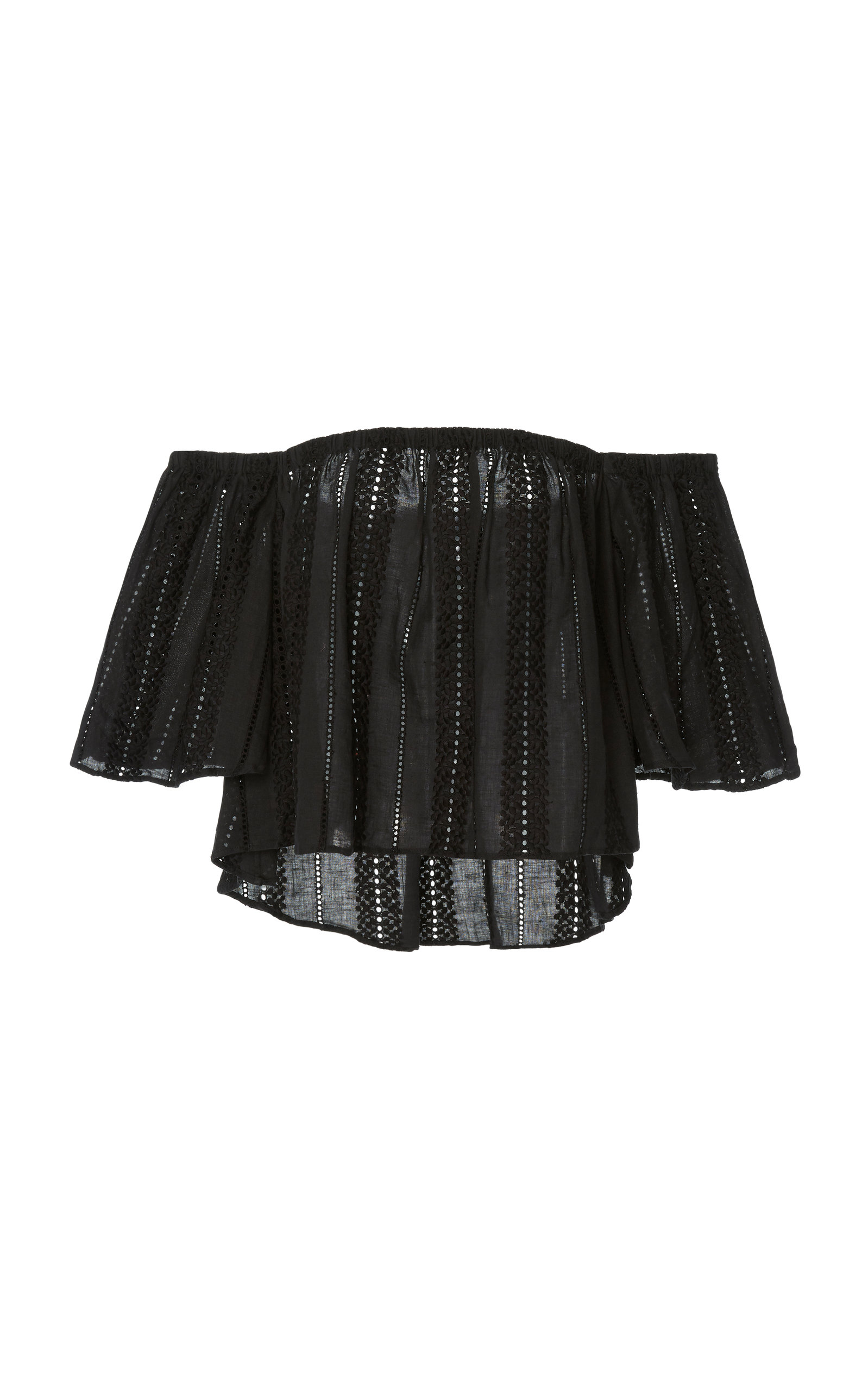 42cbe7efe25bc Mds Stripes M O Exclusive Off-The-Shoulder Cotton Blouse In Black ...