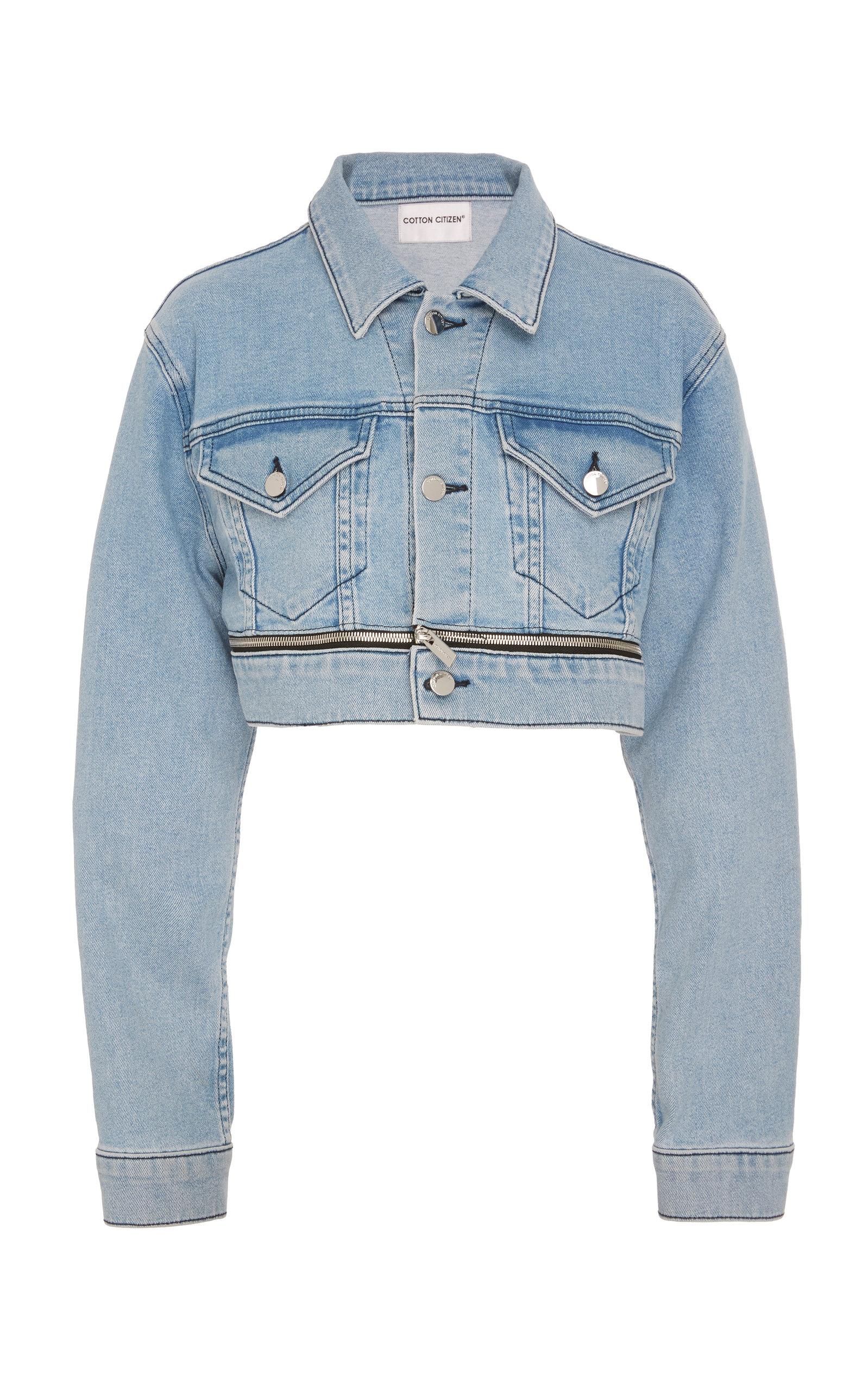 Cotton Citizen The Super Crop Open Zip Denim Jacket In Light Wash