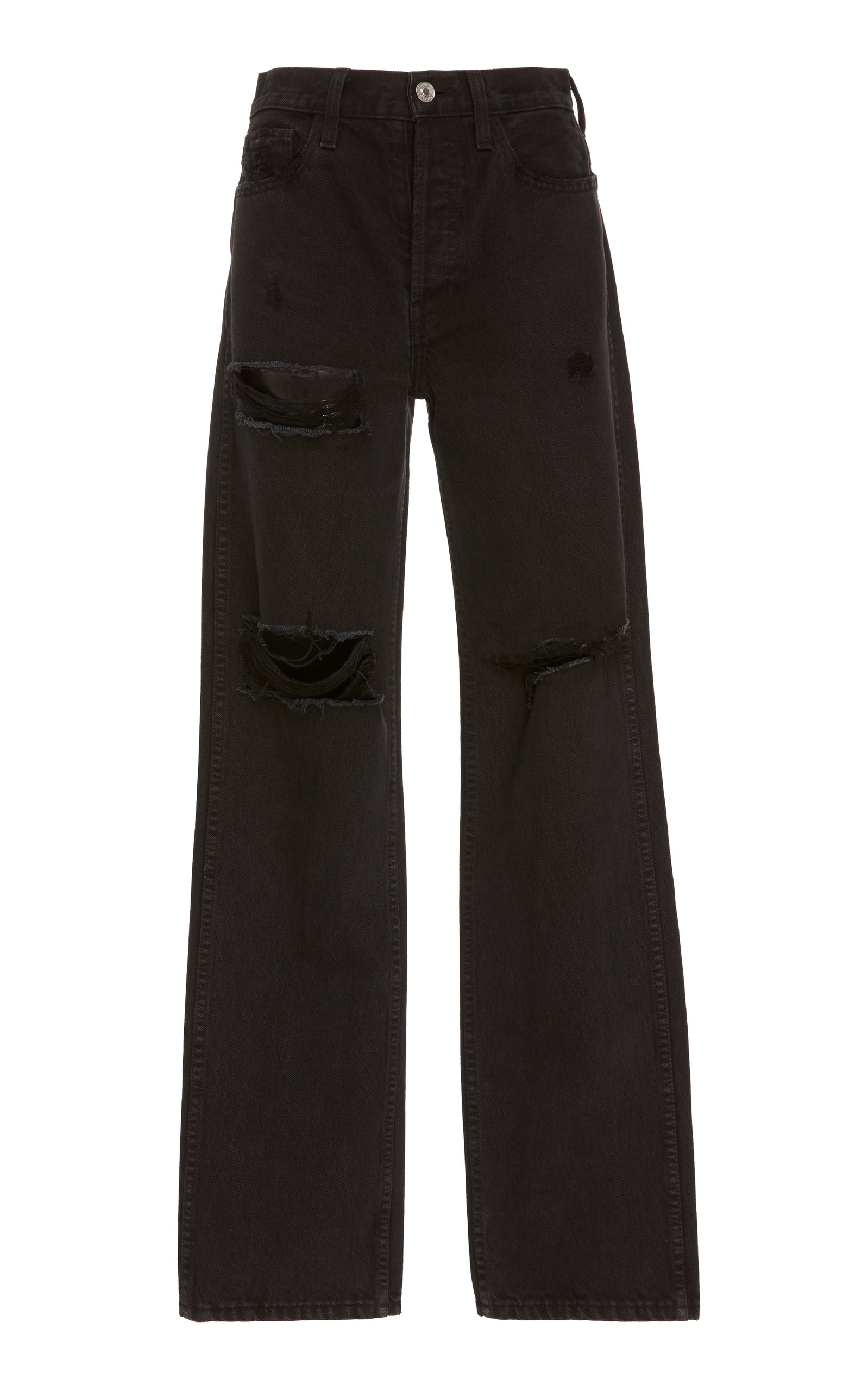 Distressed High Rise Loose Jeans in Black