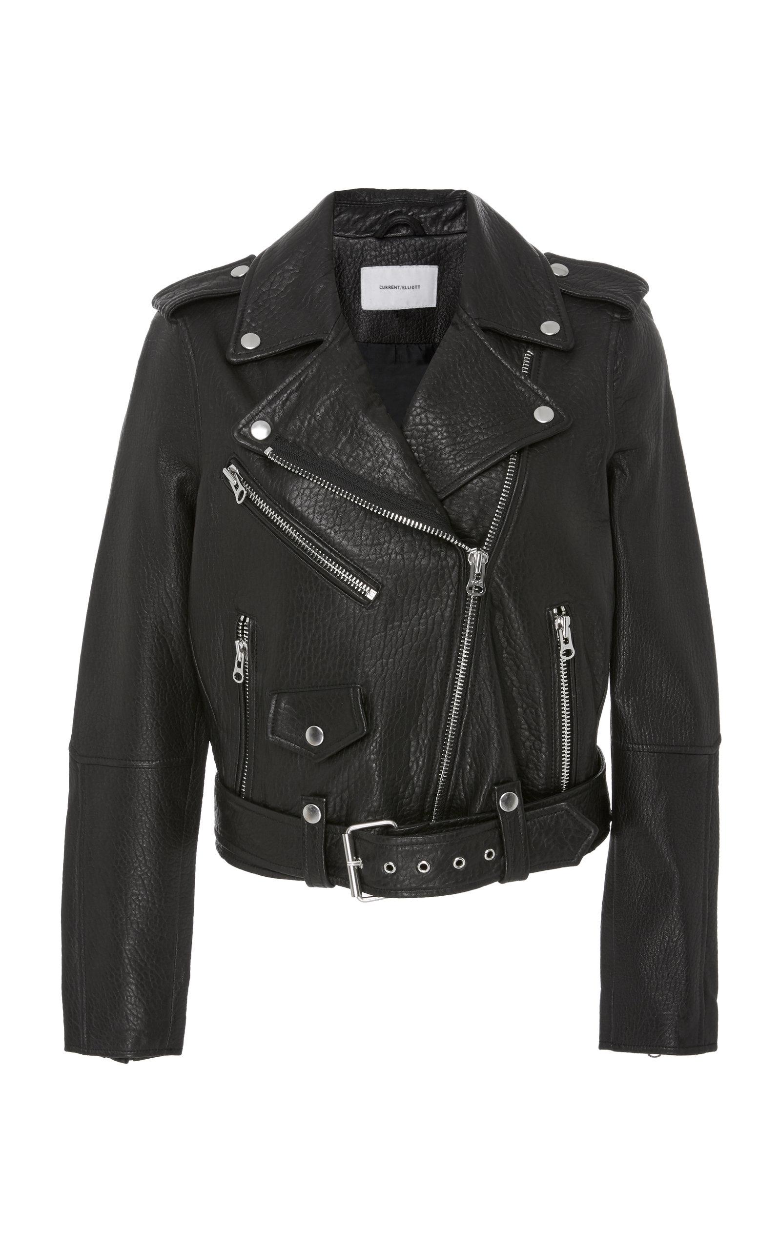 Current/Elliott The Shaina Leather Biker Jacket in Black