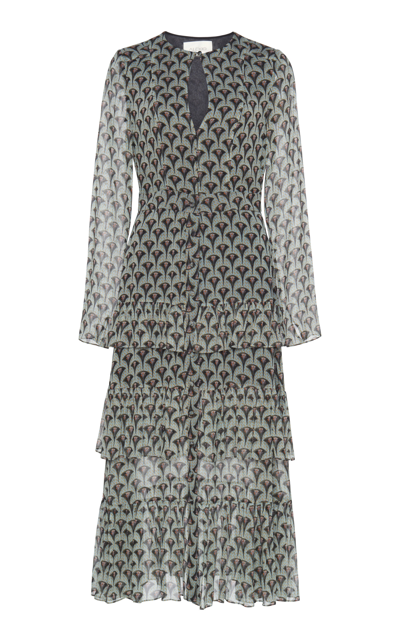 Junino Tiered Ruffle Printed A-Line Dress in Art Deco Sage