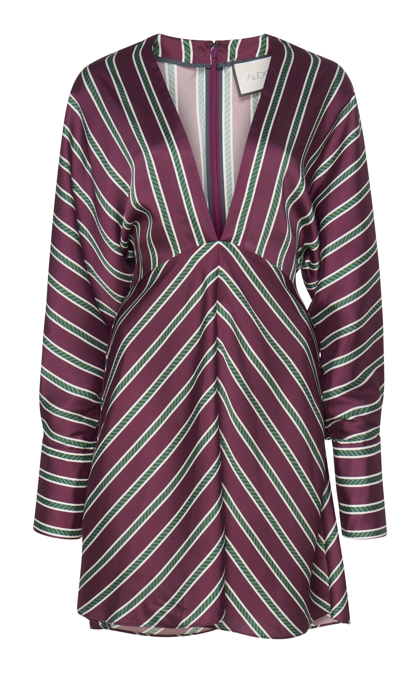 Tena Striped Plunging Empire Shift Dress in Red