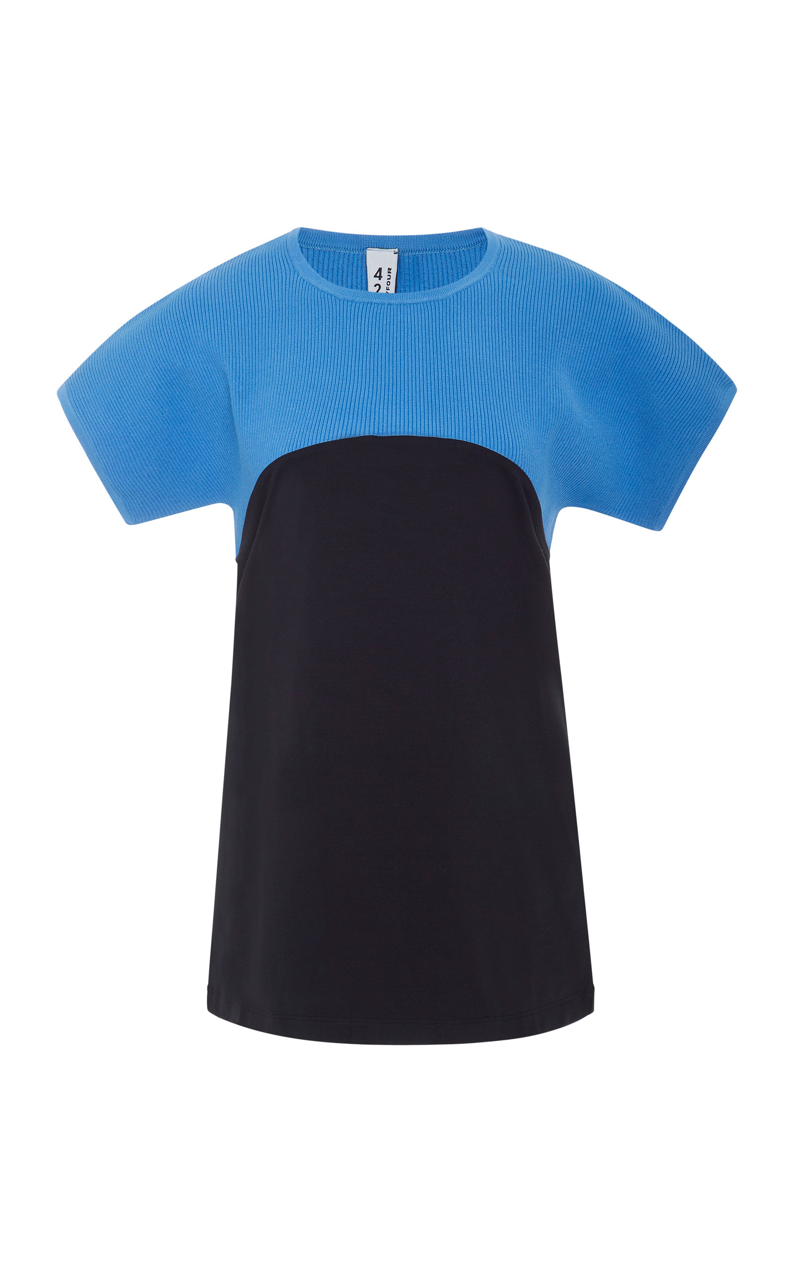 4254 SPORT Two-Tone Knitted Tee in Blue