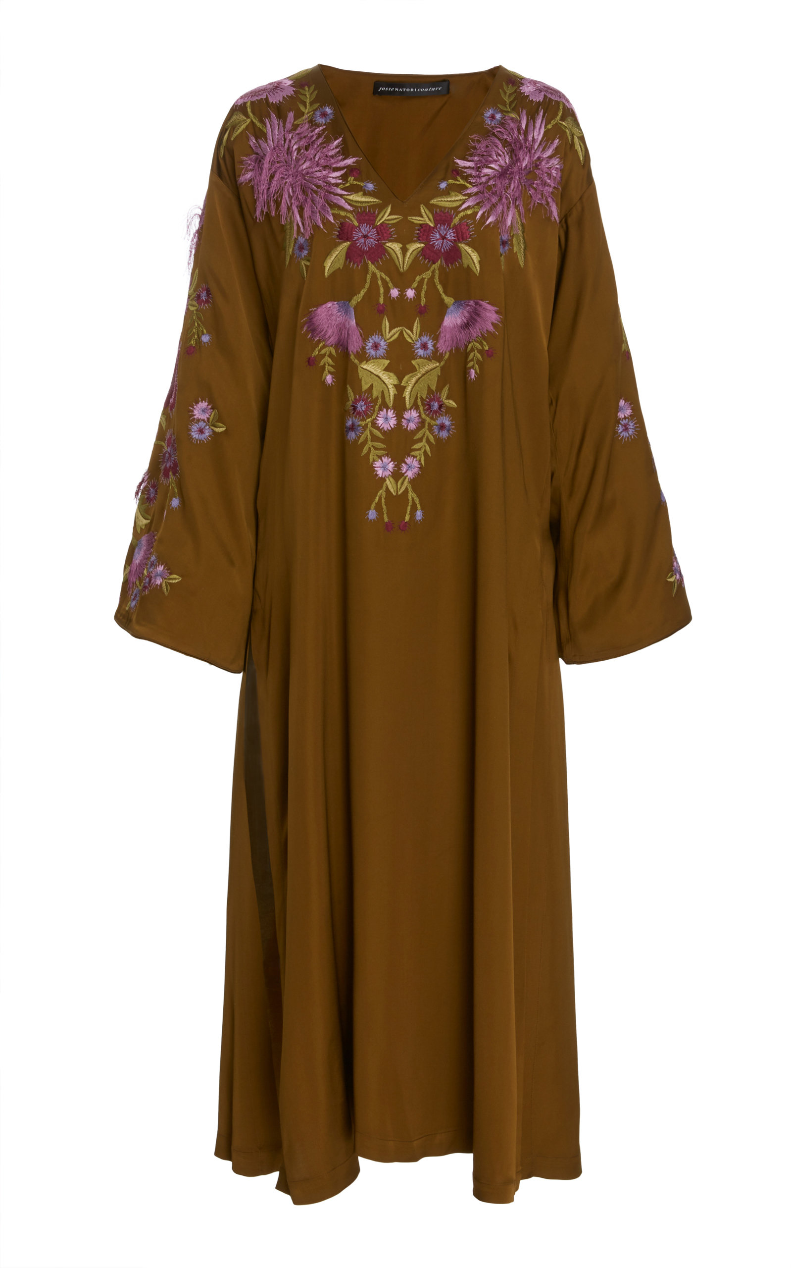 JOSIE NATORI COUTURE Long Floral Tunic in Brown