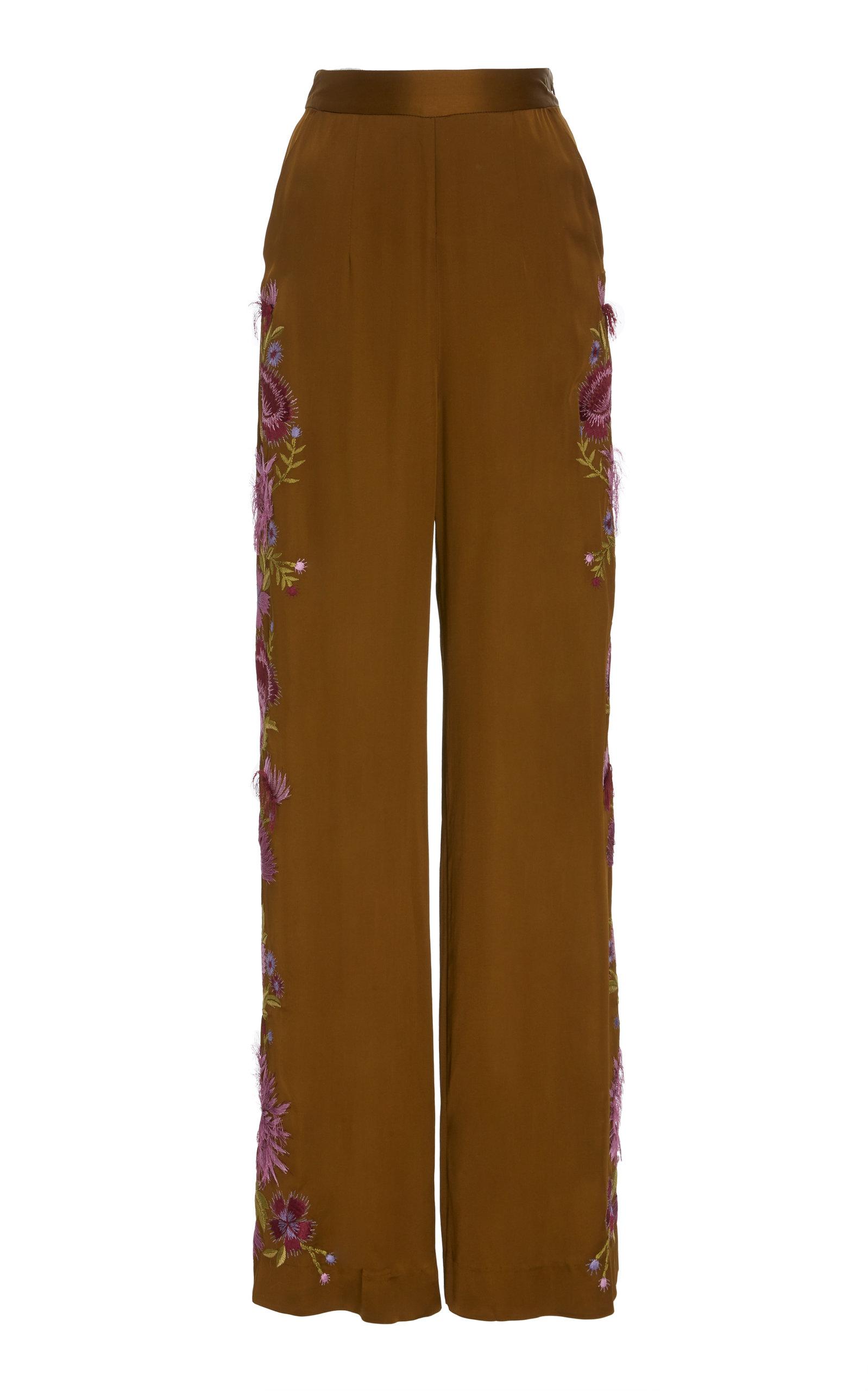 JOSIE NATORI COUTURE Wide Leg Pants in Brown