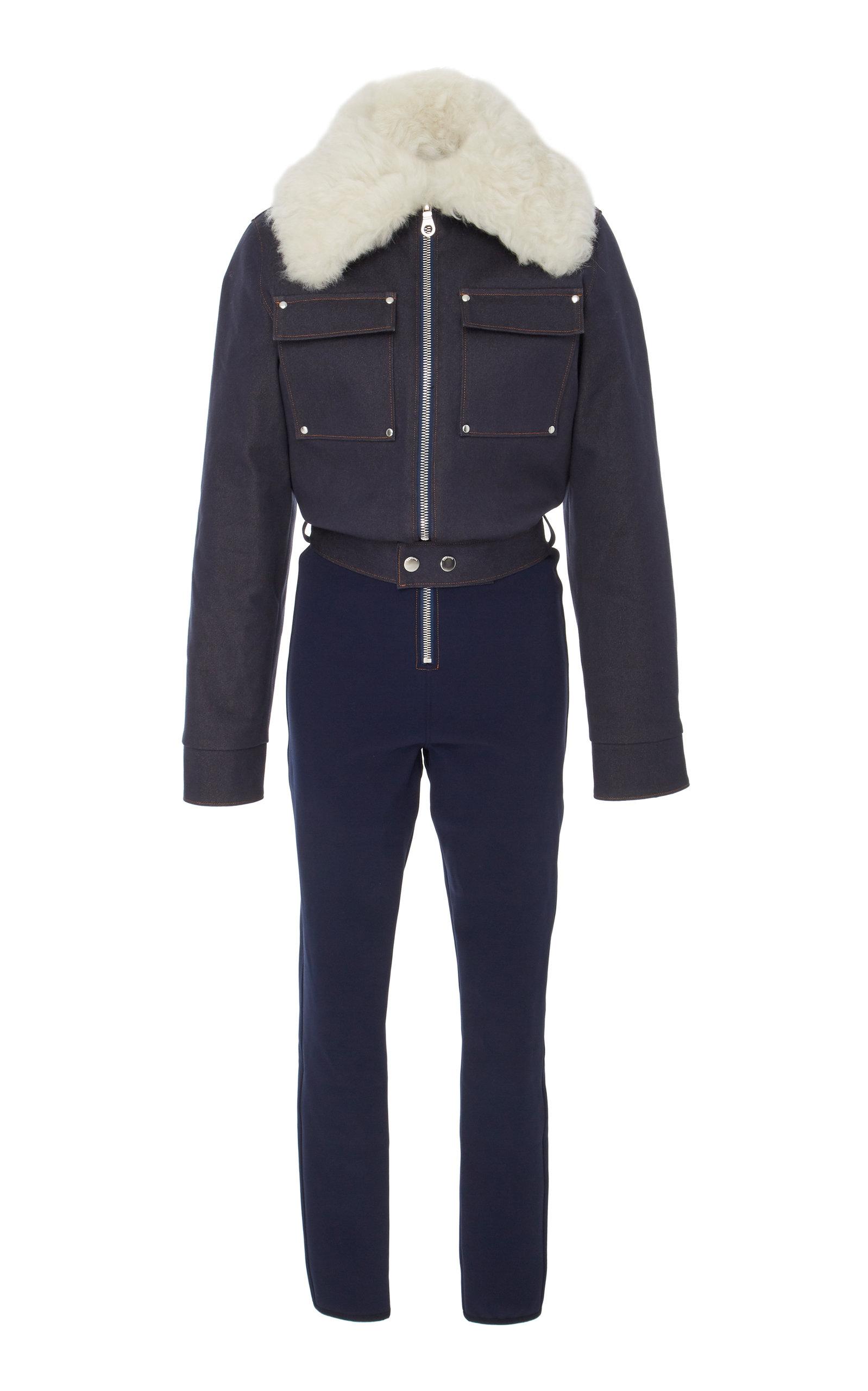 Courchevel Shearling-Trimmed Denim Jumpsuit in Blue