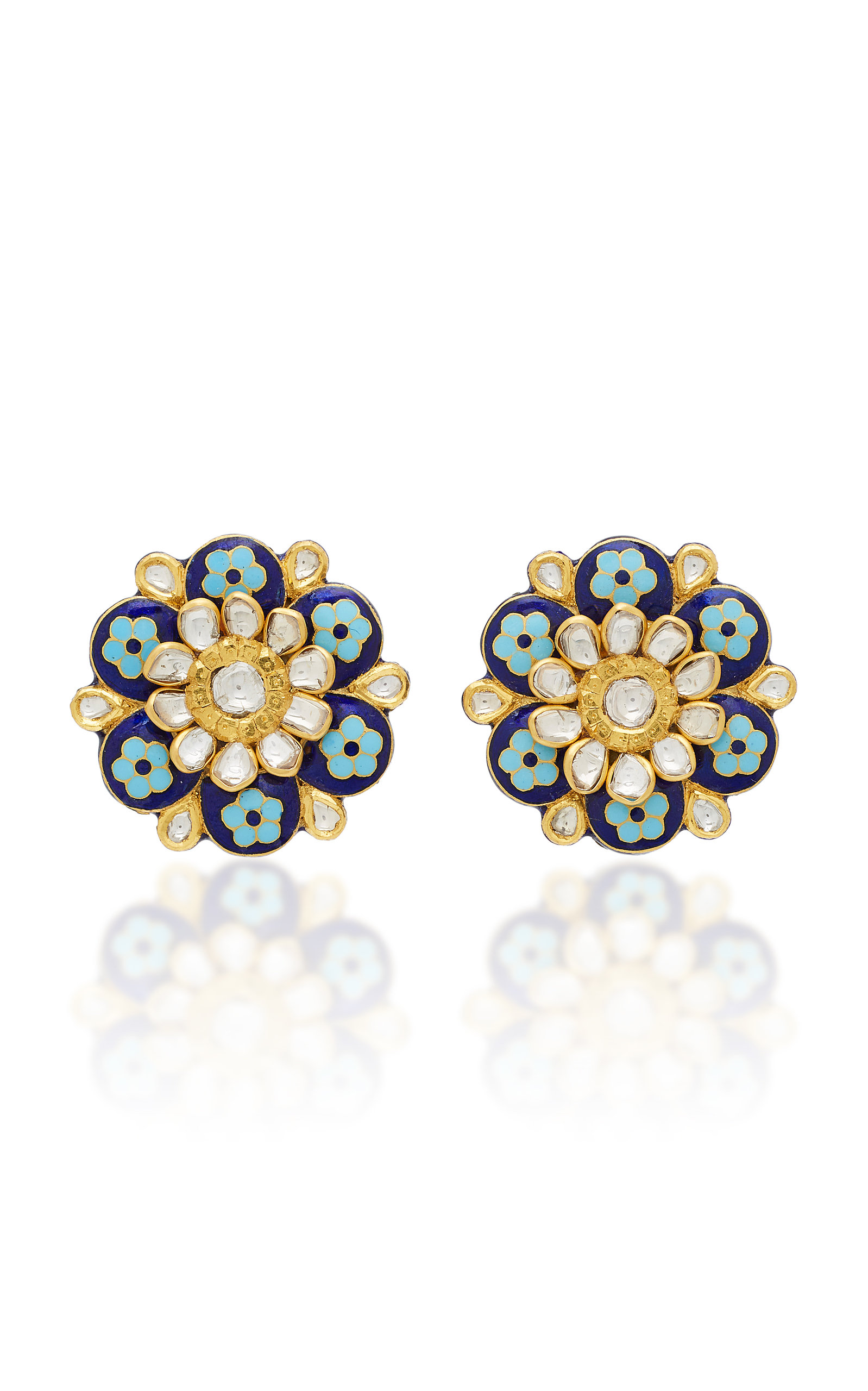 AMRAPALI 18K AND 22K GOLD ENAMEL AND DIAMOND EARRINGS