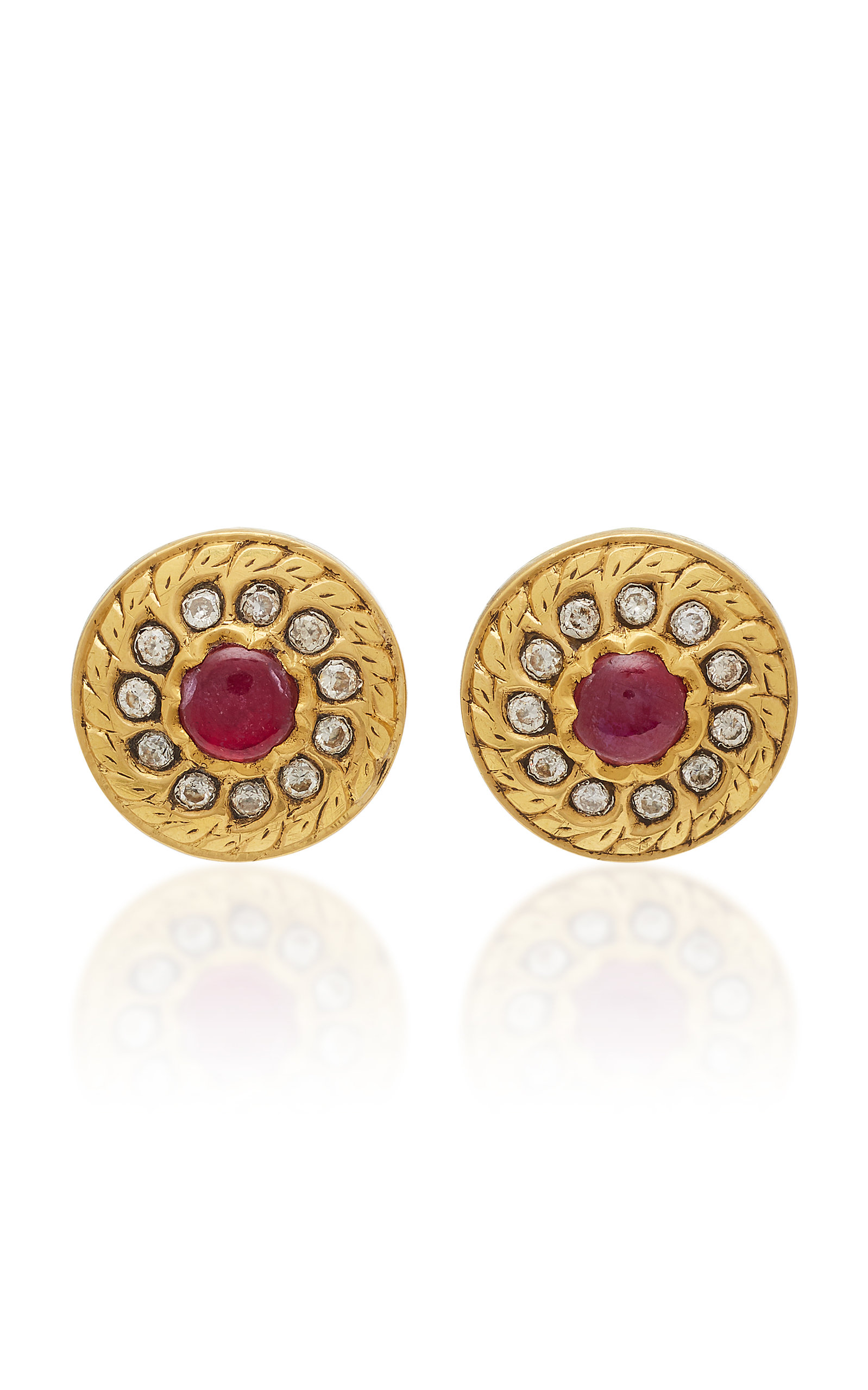 Amrapali 18k22k 24k Gold Ruby And Diamond Earrings In Red