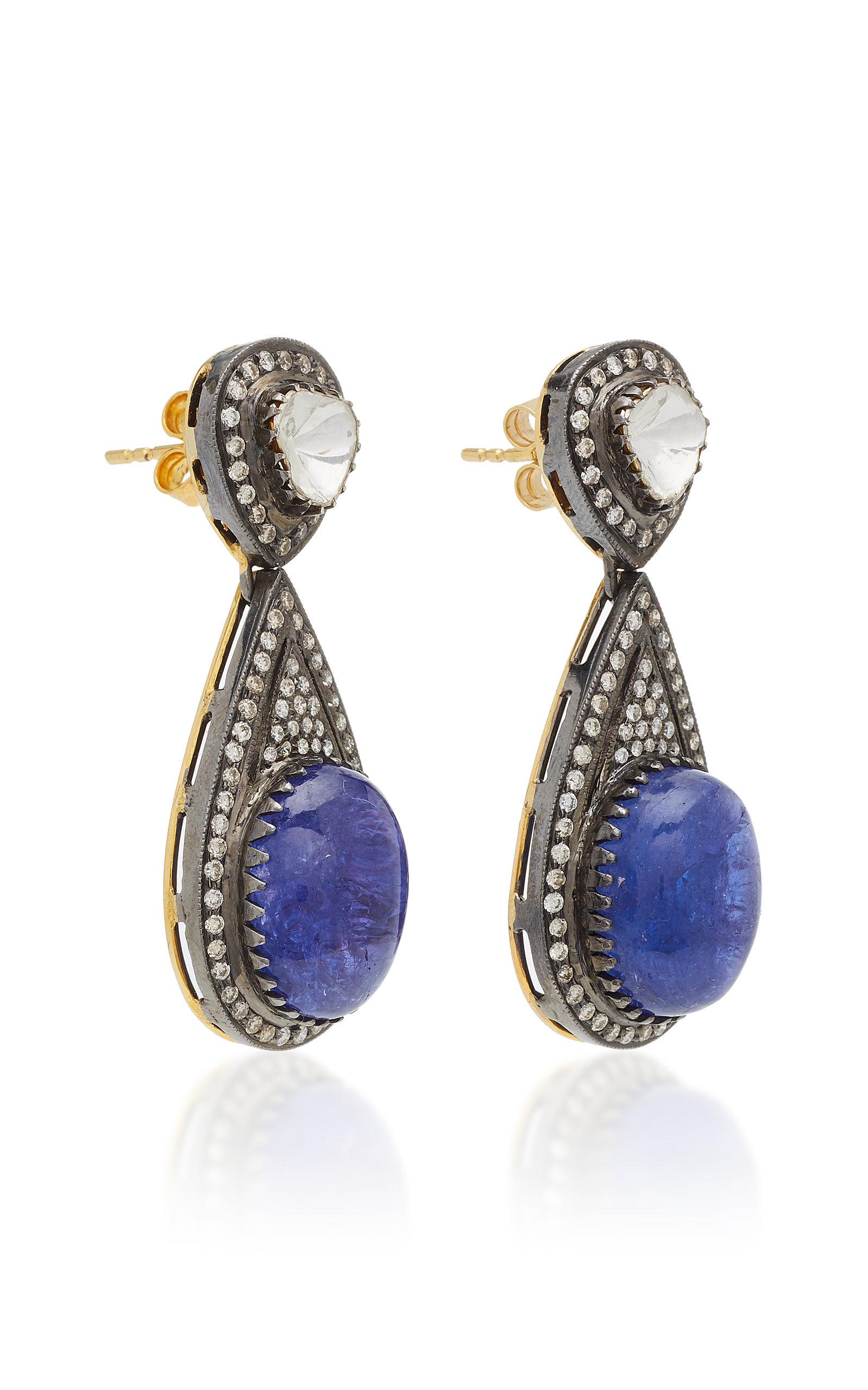 18K Gold Tanzanite And Diamond Earrings Amrapali uwPYVi8bn9
