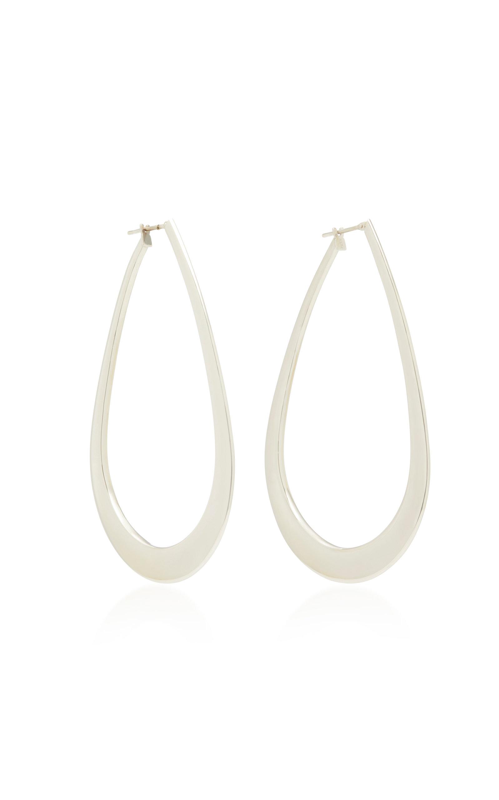 SIDNEY GARBER 18K WHITE GOLD HOOP EARRINGS