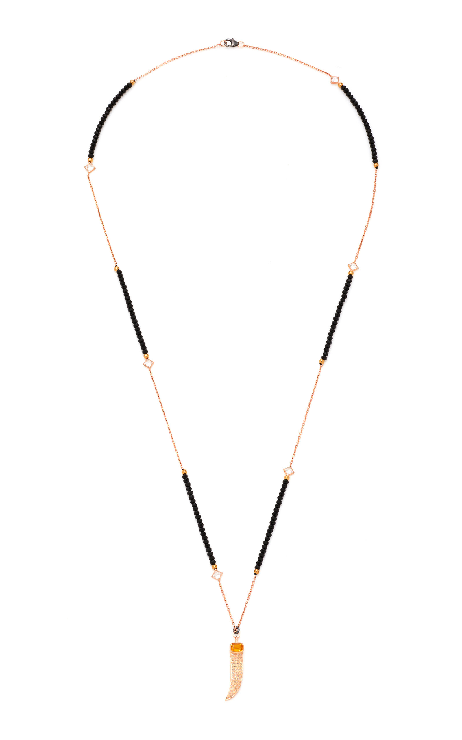 NICKHO REY CLAW 14K ROSE GOLD DIAMOND AND CITRINE NECKLACE