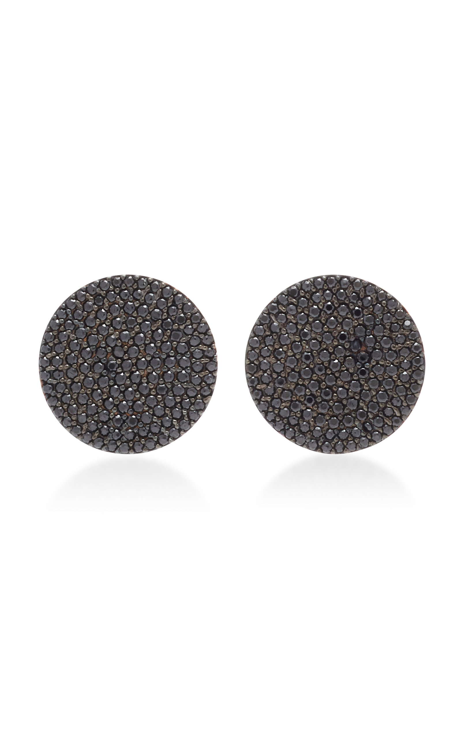NICKHO REY BUTTON 14K GOLD AND BLACK SPINEL EARRINGS