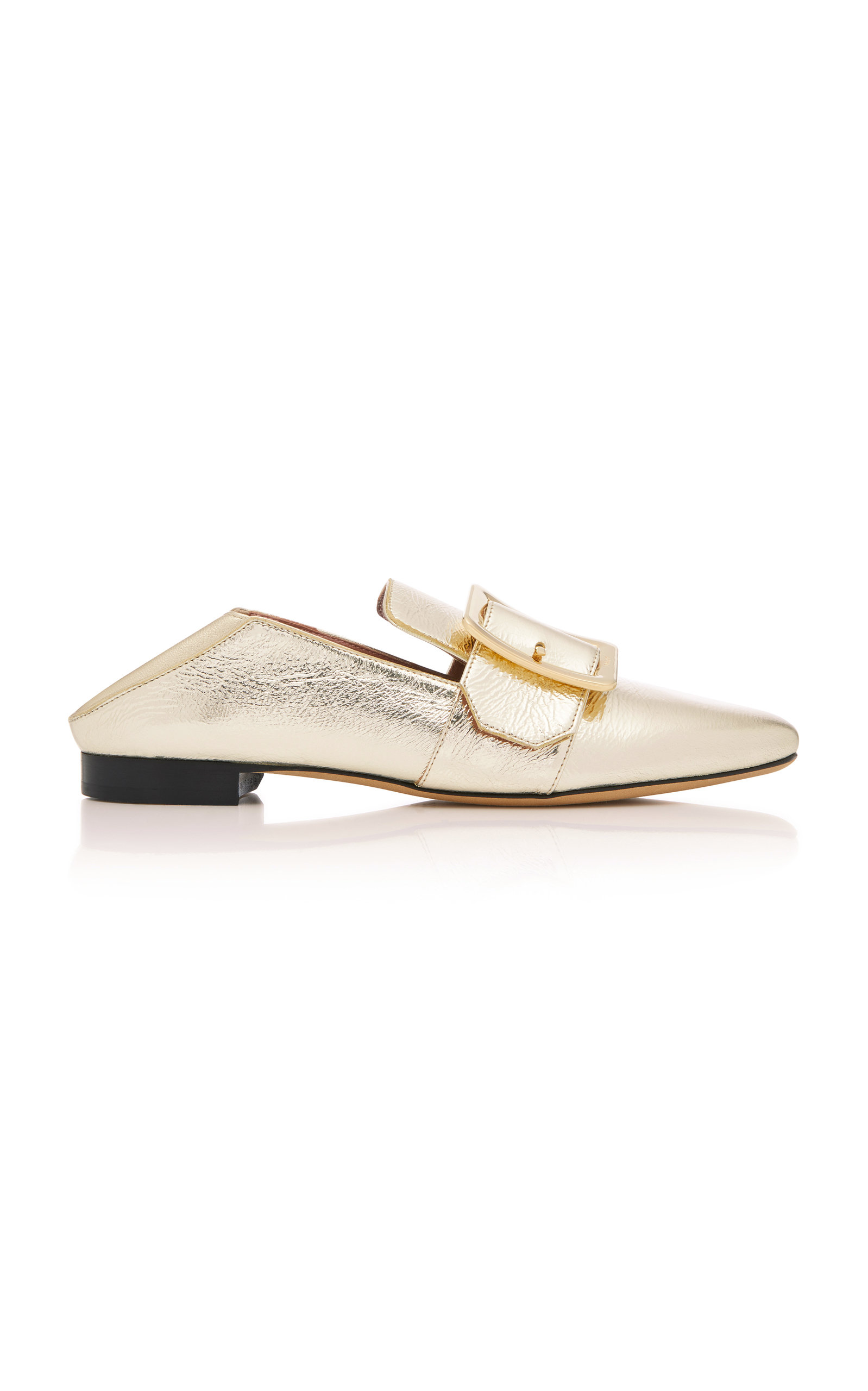 JANELLE COLLAPSIBLE METALLIC LEATHER LOAFERS