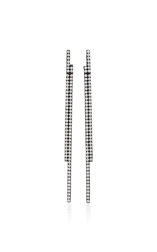 AS29 | AS29 Bolo Diamond & 18K Black Gold Stick Earrings | Goxip