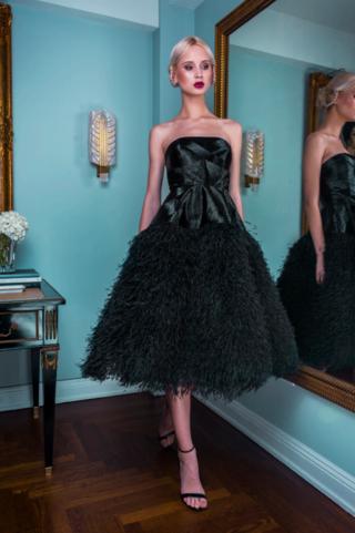 ALEXANDRA VIDAL | Alexandra Vidal Black Hand Beaded Strapless Corset Tea Length Tulle Dress | Goxip