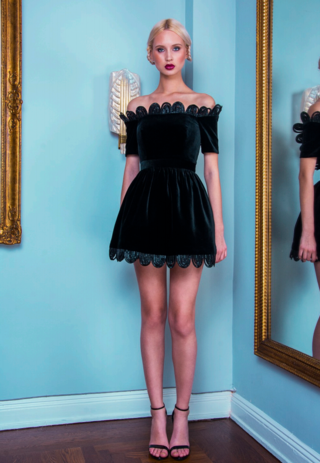 ALEXANDRA VIDAL | Alexandra Vidal Black Silk Velvet Off The Shoulder Dress | Goxip