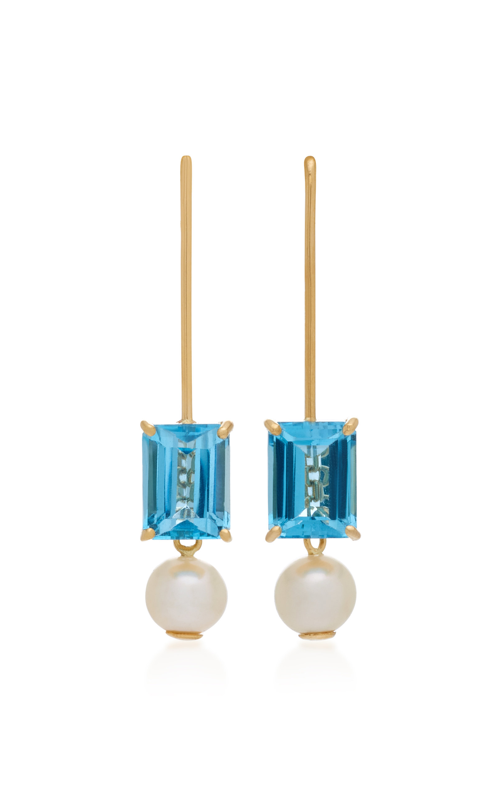 YI COLLECTION 18K GOLD BLUE TOPAZ AND PEARL EARRINGS