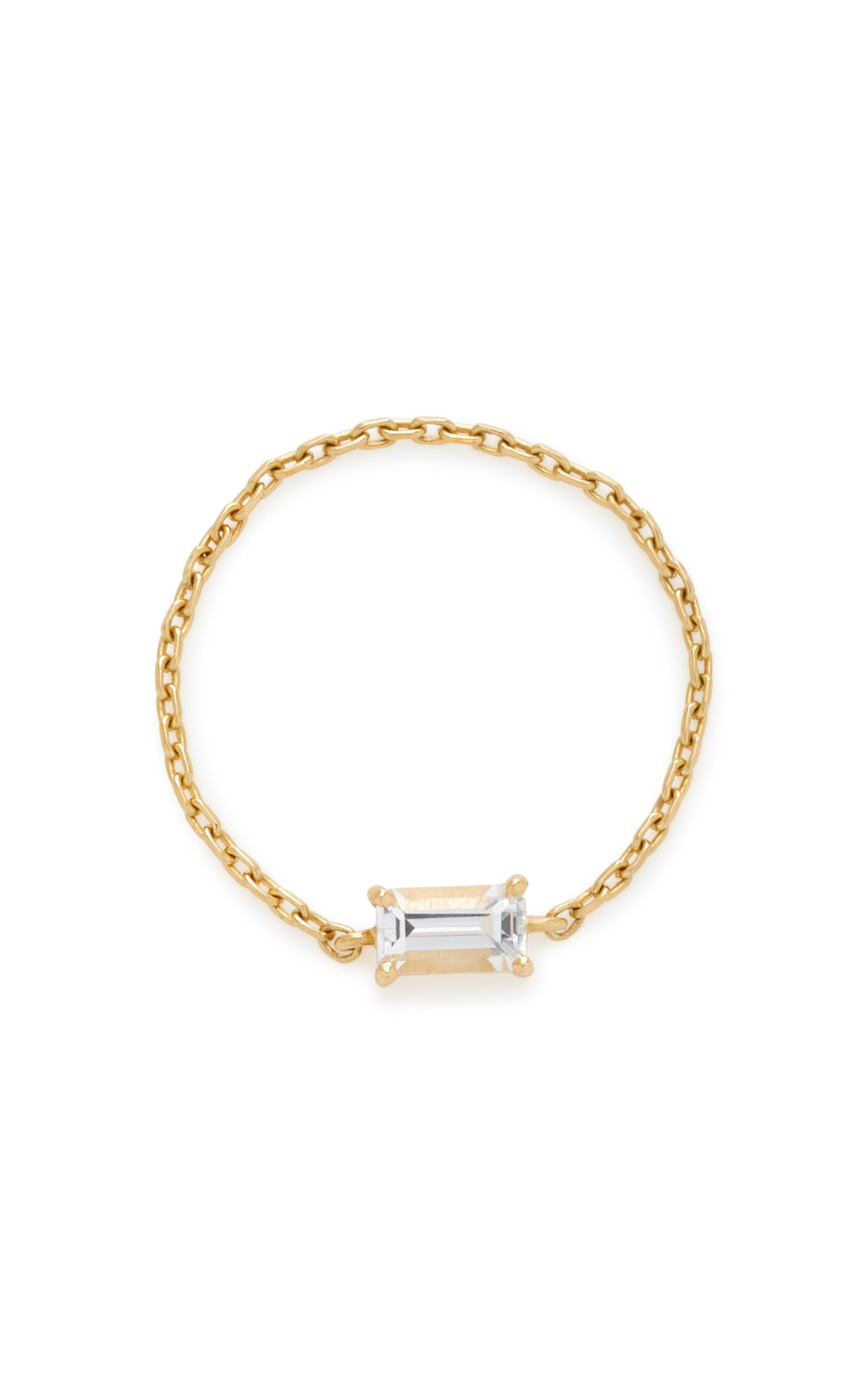YI COLLECTION 18K GOLD WHITE TOPAZ CHAIN RING