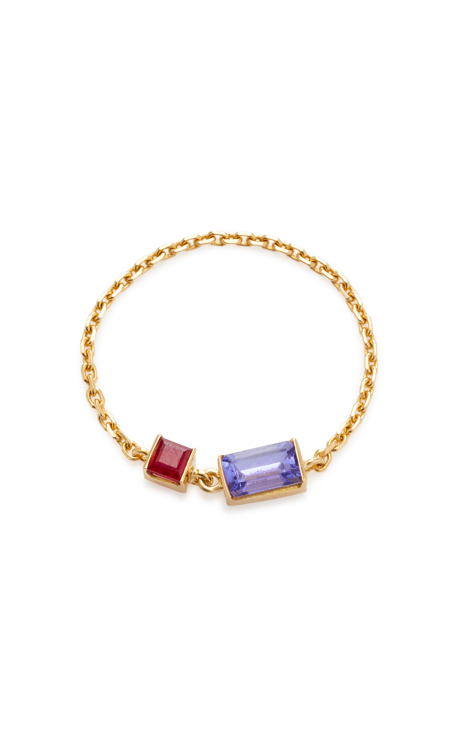 YI COLLECTION 18K GOLD TANZANITE AND RUBY CHAIN RING