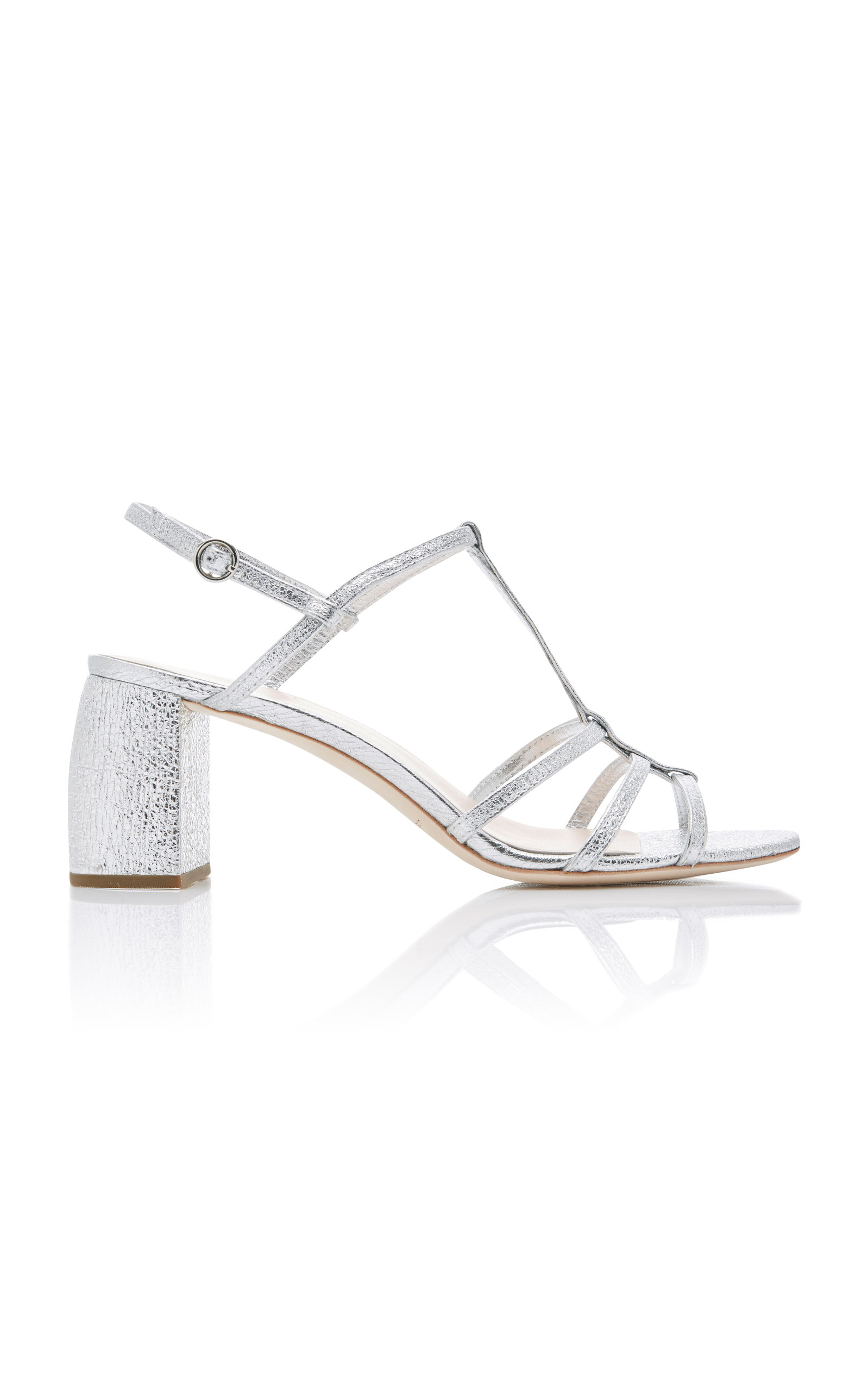Elena Meatllic Leather Strappy Slingback Sandals, Silver