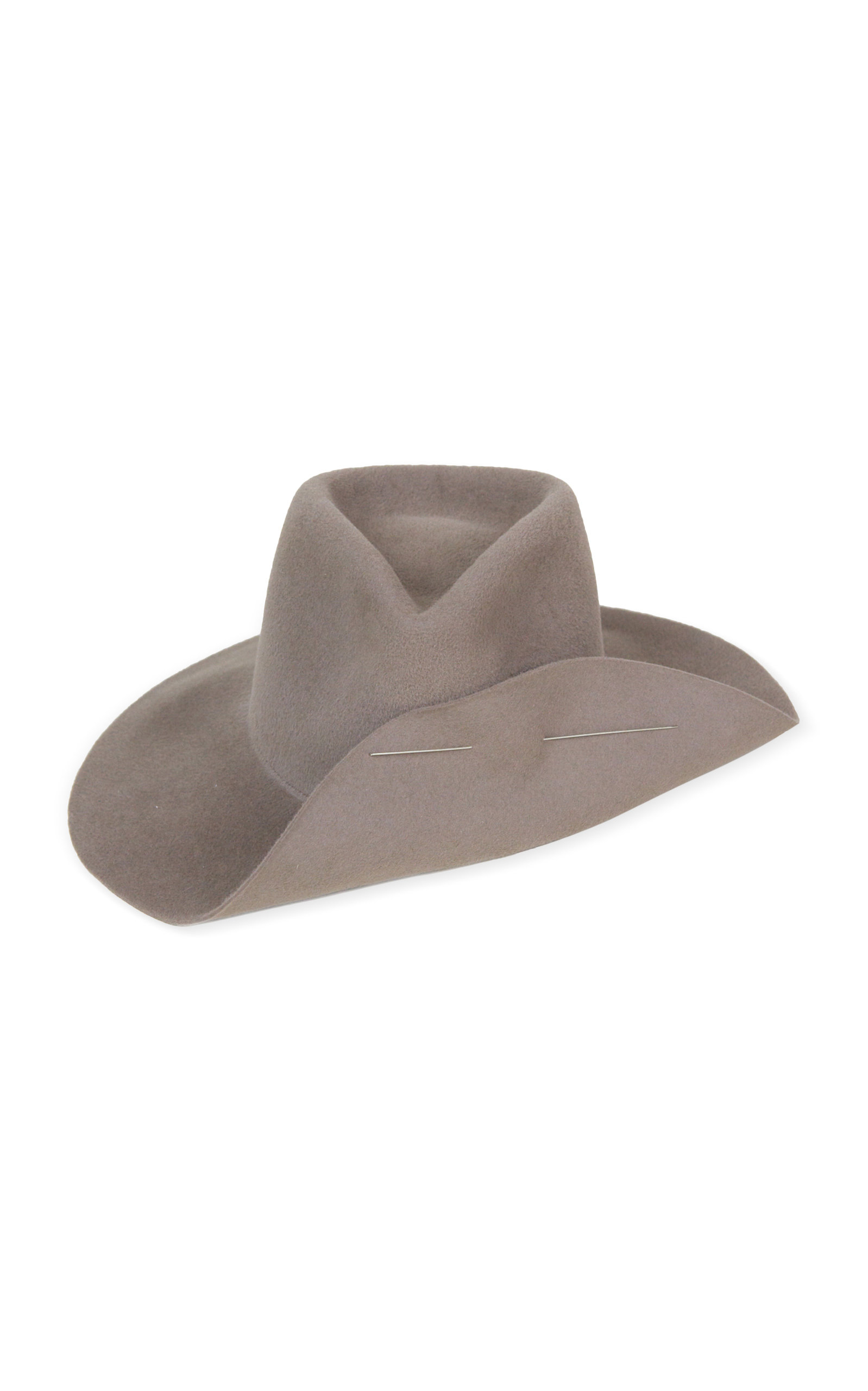 CLYDE Wide Brim Pinch Hat With Pin in Grey