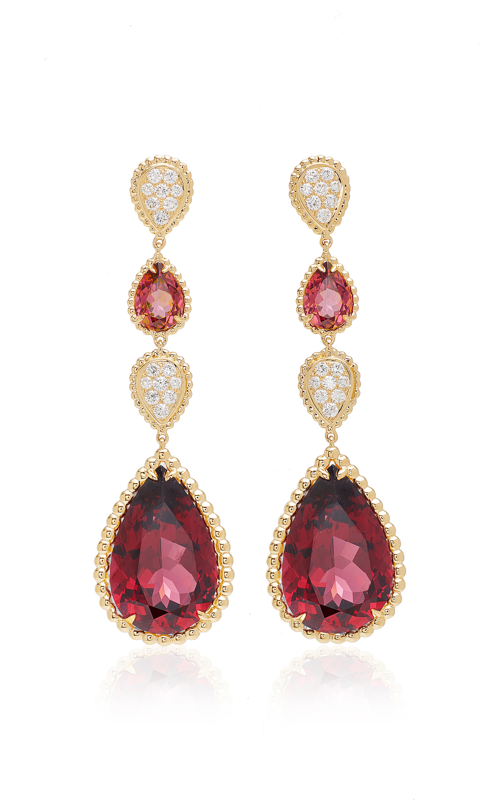 gold with necklace pendant in rhodolite l diamonds garnet rose