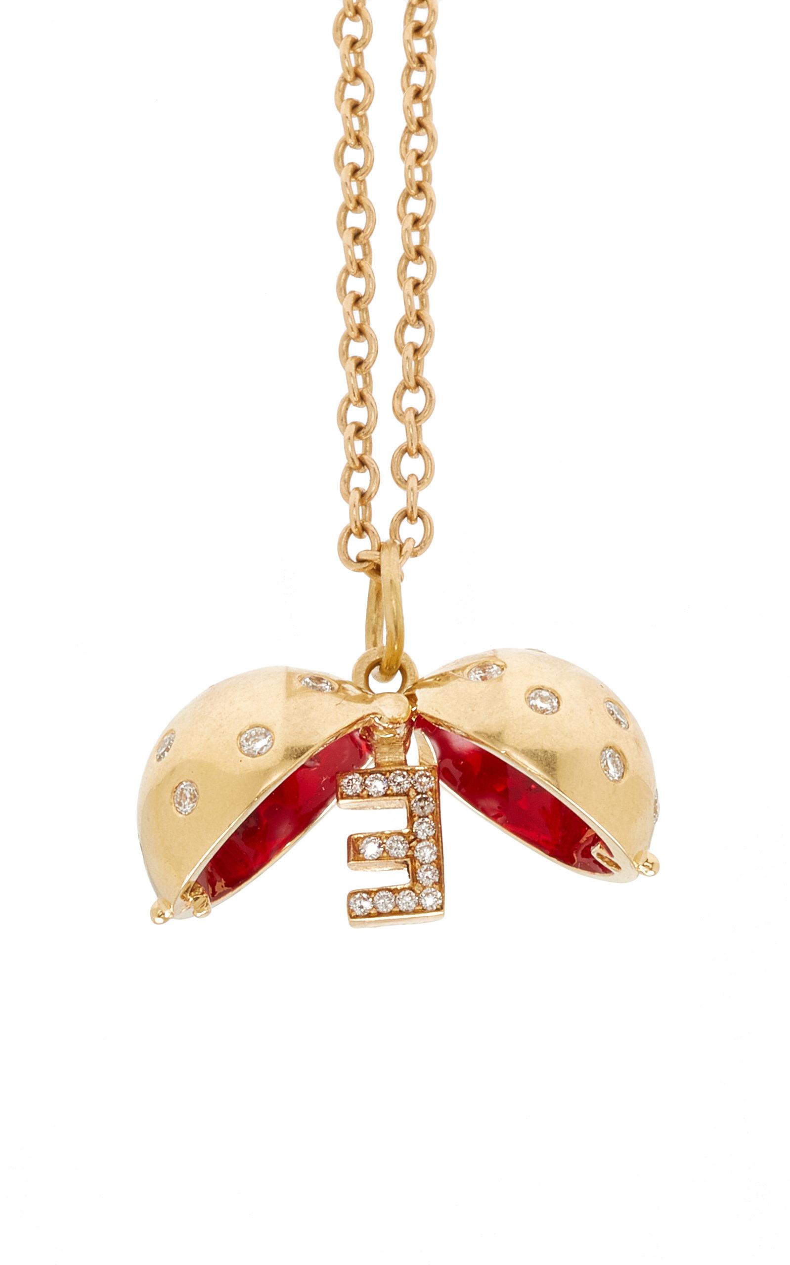 Custom Diamond Sphere with Cherry Enamel Necklace
