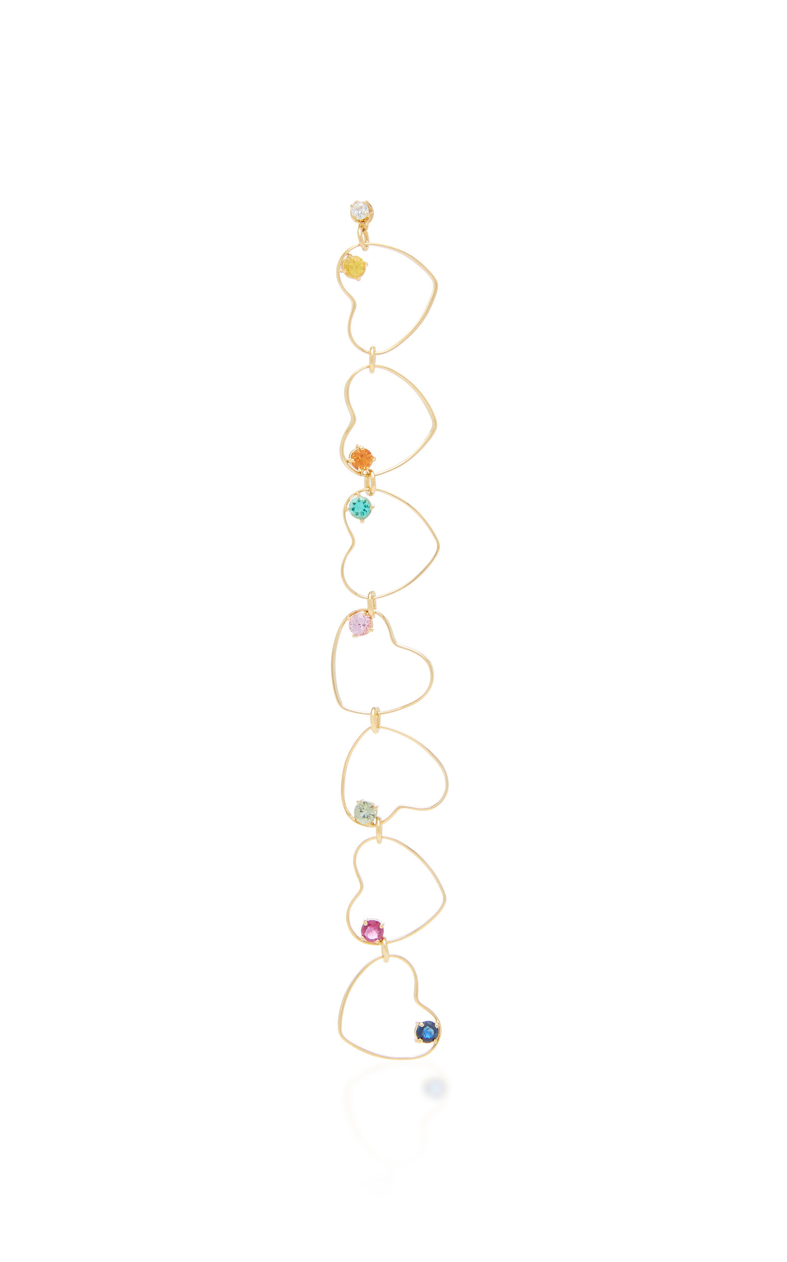 GIGI & JOUX HEART RAINBOW MULTI-STONE 24K GOLD DROP EARRING
