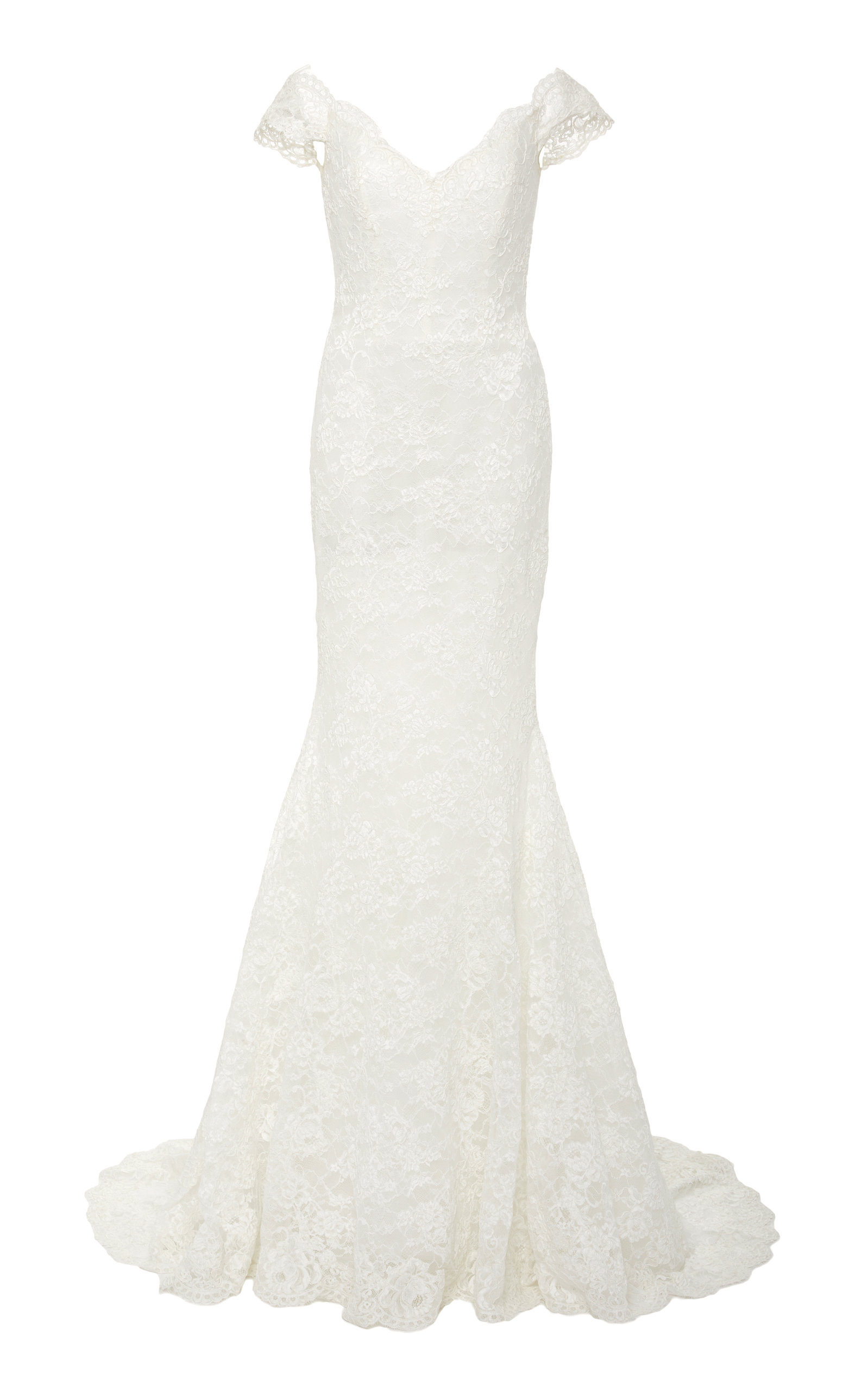 ISABELLE ARMSTRONG Delilah Off-The-Shoulder Lace Mermaid Gown in White