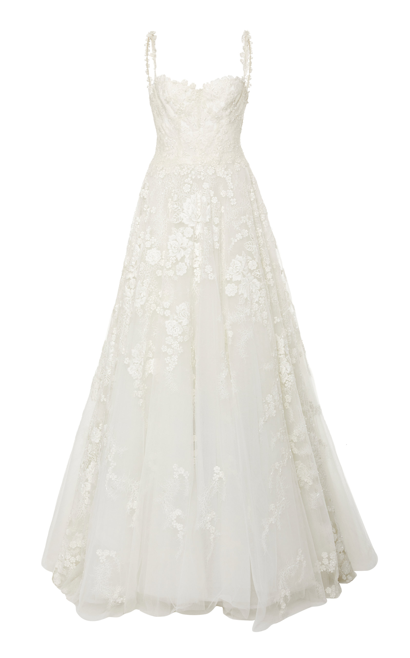 ISABELLE ARMSTRONG Luna Floral Embroidered Tulle Ballgown in White