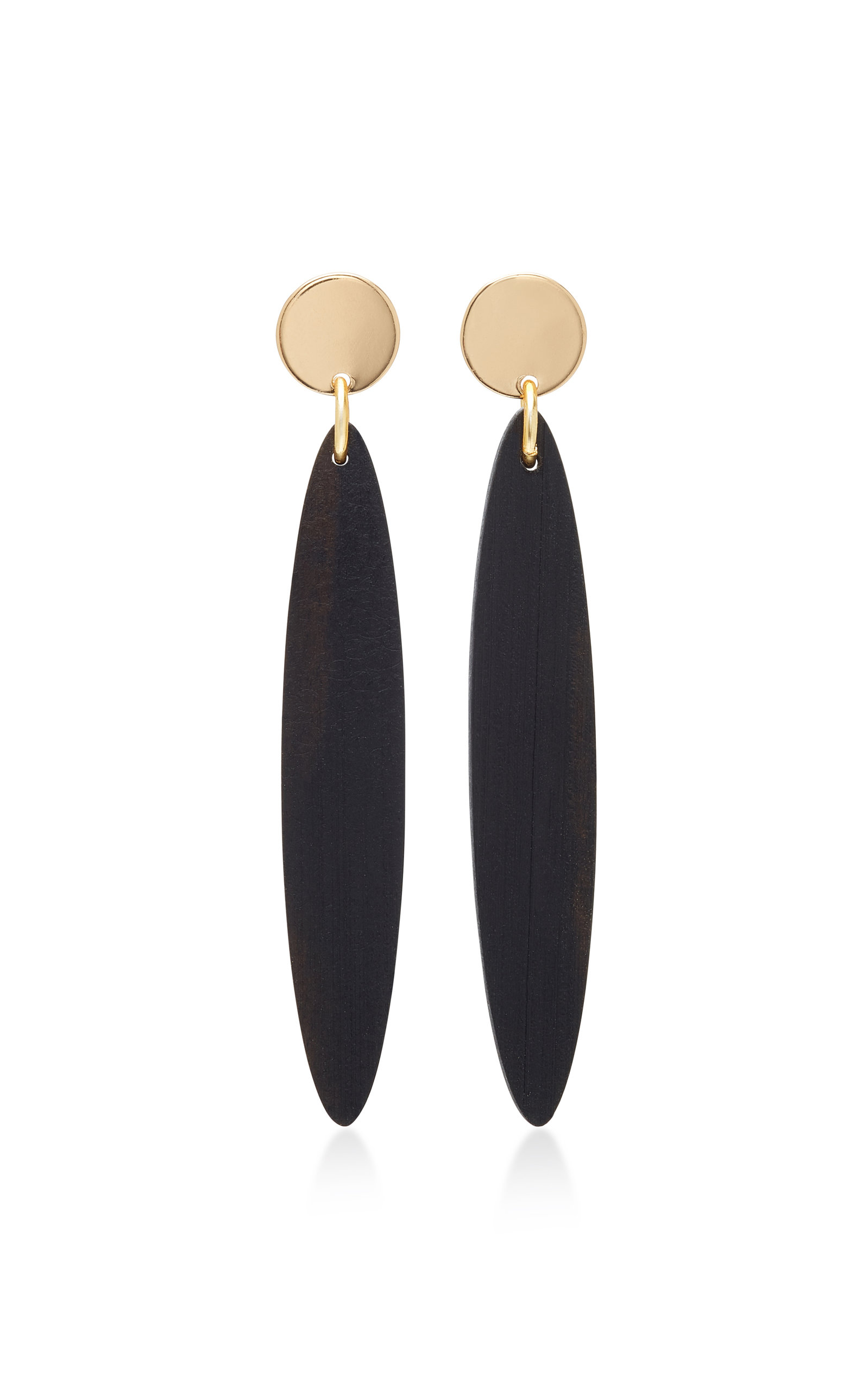 SOPHIE MONET THE NAVONA GOLD-PLATED EBONY AND WOOD EARRINGS