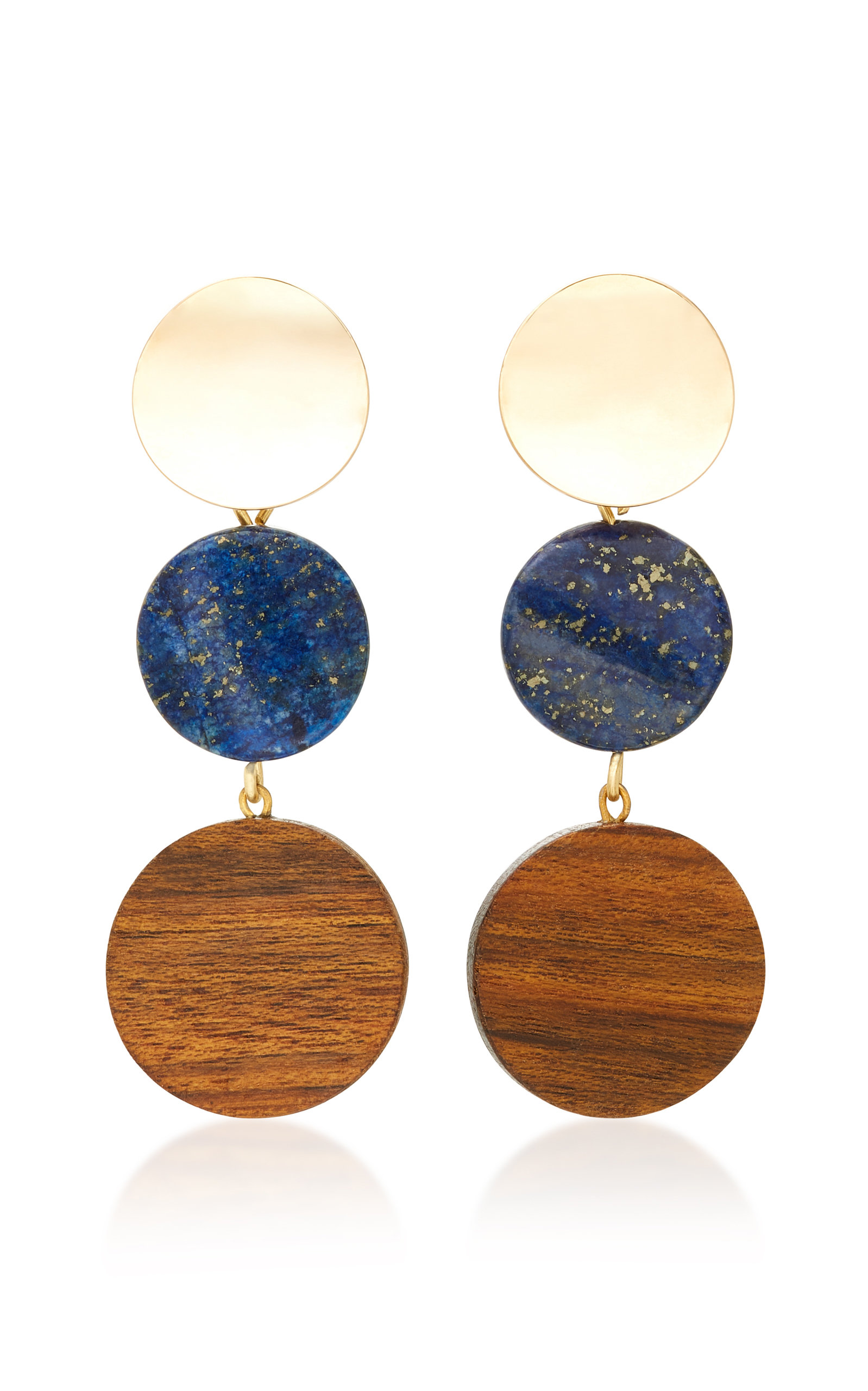 SOPHIE MONET THE ARLO GOLD-PLATED LAPIS AND SHEDUA WOOD EARRINGS
