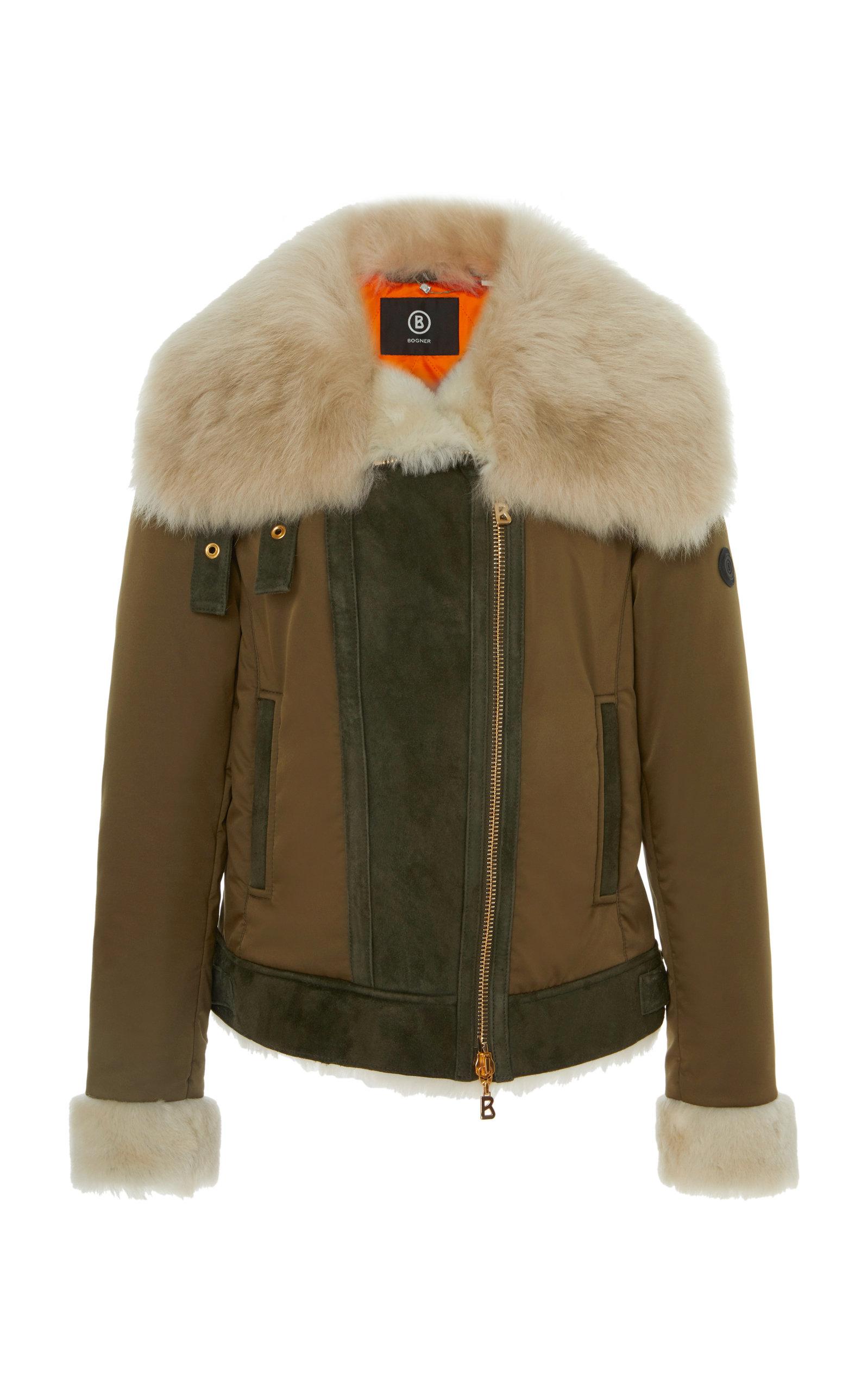 BOGNER X WHITE CUBE Raffi-L Fur Trimmed Lambskin Jacket in Brown