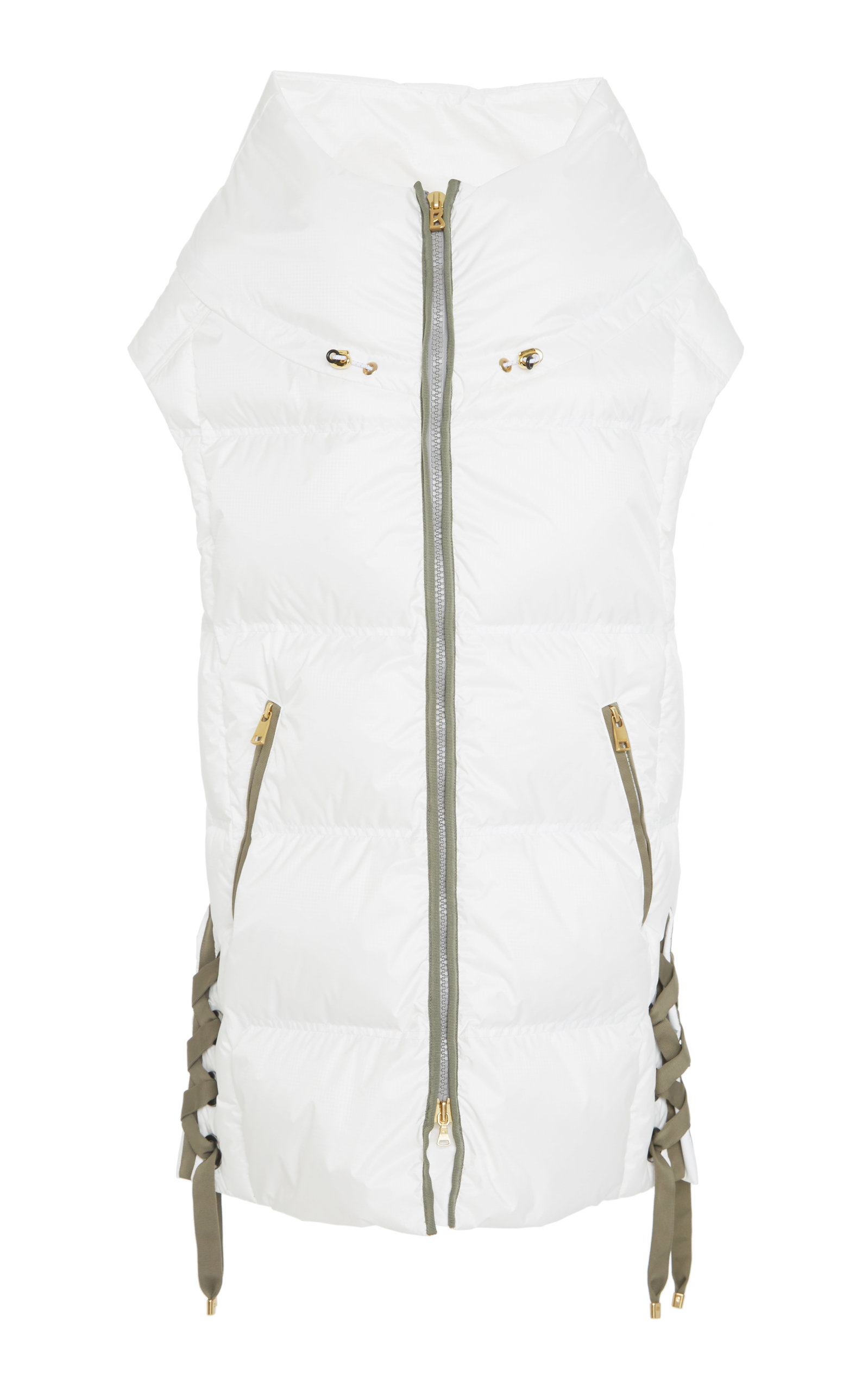 BOGNER X WHITE CUBE Dorea Lace-Up Quilted Shell Hooded Vest in White