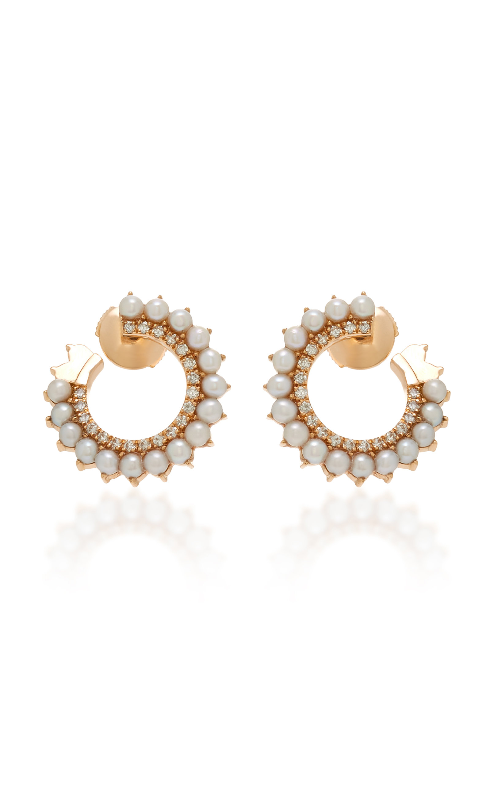 NOUVEL HERITAGE 18K Rose Gold Diamond And Pearl Earrings