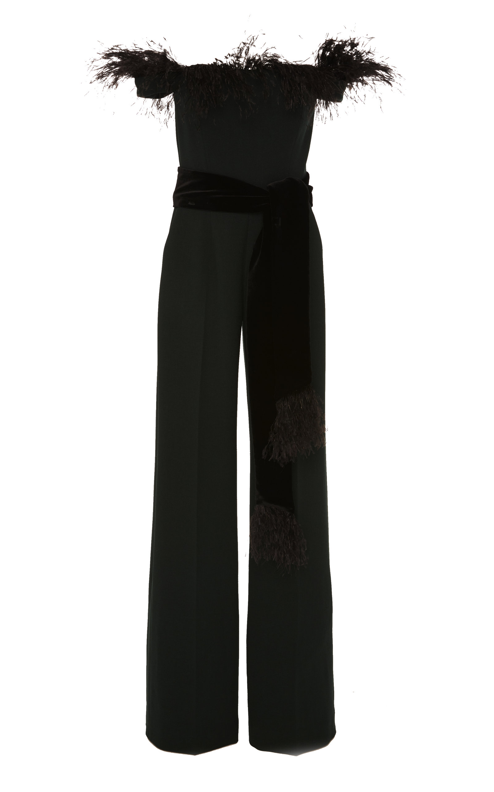 ALEXANDRA VIDAL M'O Exclusive Off-The-Shoulder Feather-Embellished Crepe Jumpsuit in Dark Green