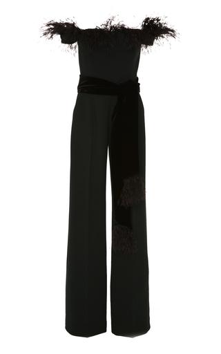 ALEXANDRA VIDAL | Alexandra Vidal M'O Exclusive Off-The-Shoulder Feather-Embellished Crepe Jumpsuit | Goxip