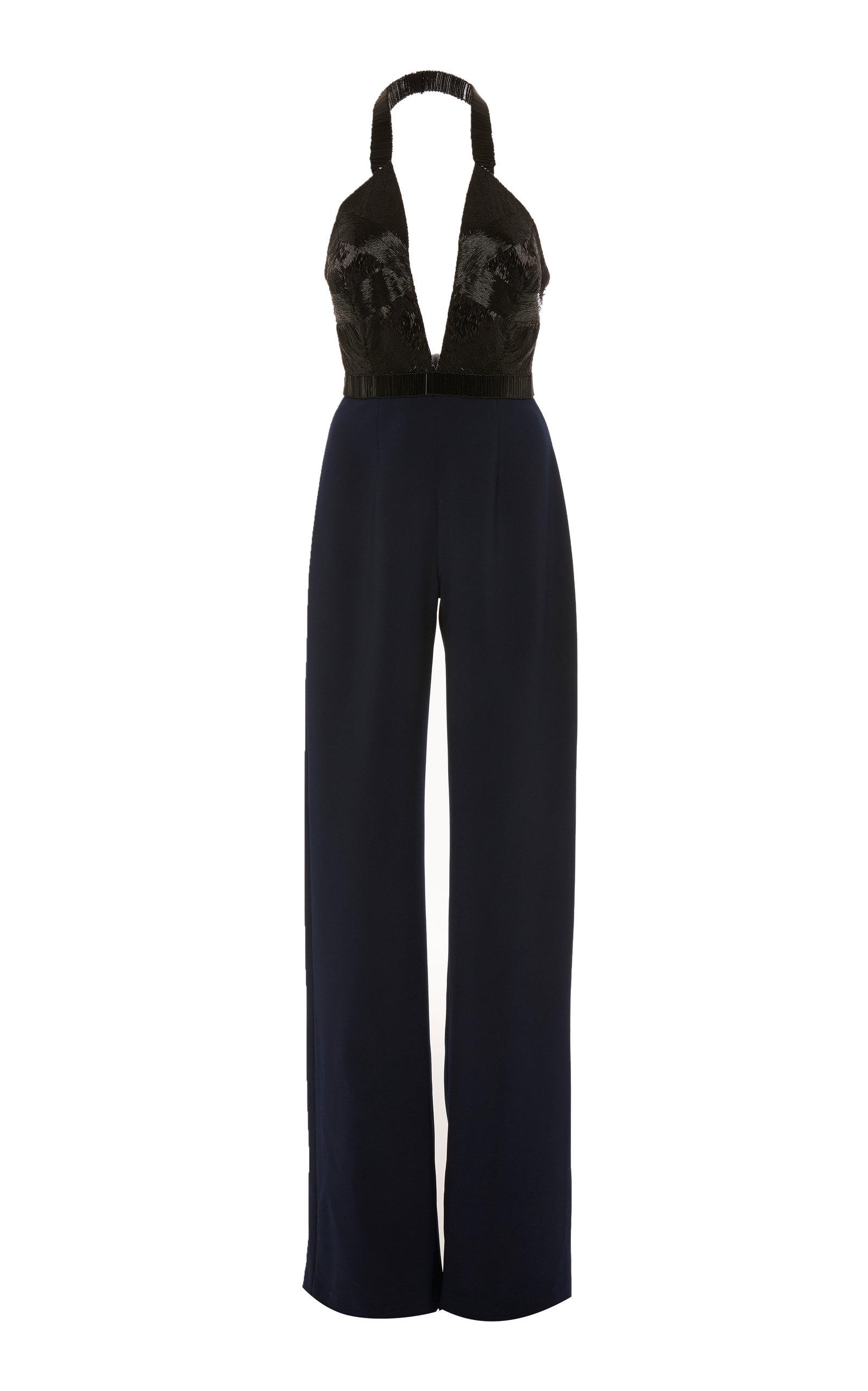 ALEXANDRA VIDAL Exclusive: Plunge Neckline Beaded Jumpsuit in Black